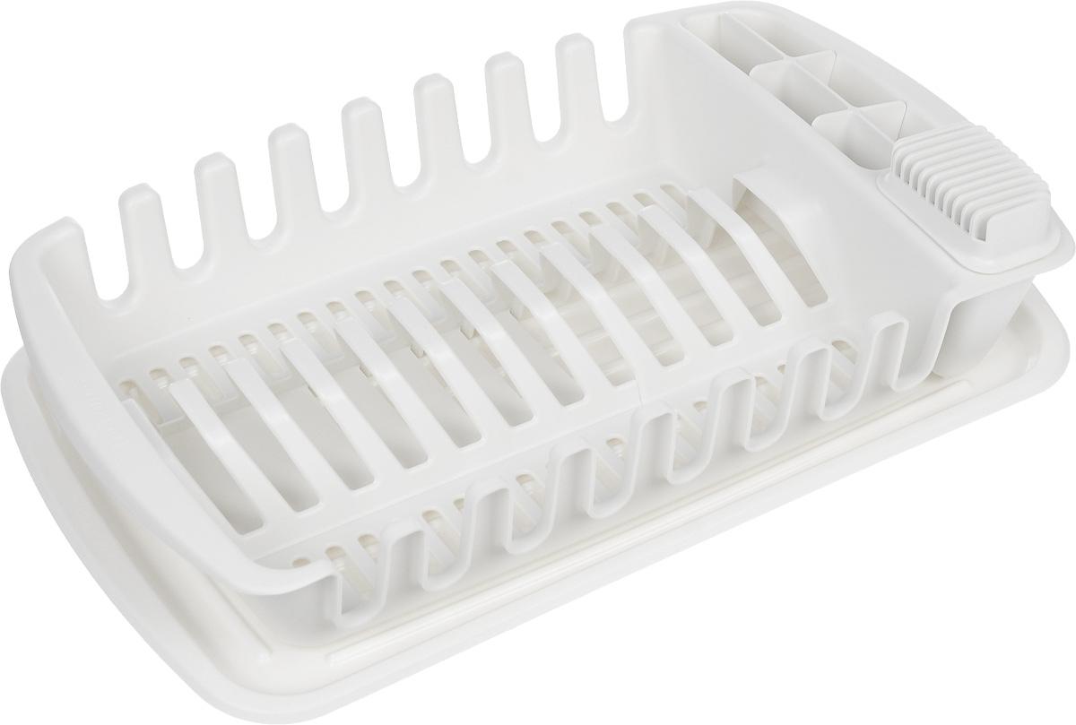 Сушилка для посуды Tescoma Clean Kit900644Сушилка для посуды Tescoma Clean Kit отлично подходит для хранения и сушки тарелок, чашек, посуды и кухонной утвари, столовых приборов, кухонных ножей, подходит также для глубоких и больших сервировочных тарелок (диаметром до 30 см). Поставляется с лотком для стекания воды, регулируемой подставкой для 4 или 12 тарелок и контейнером для безопасного хранения ножей, столовых приборов и кухонной утвари. Сушилка изготовлена из высококачественного прочного пластика. Такая сушилка отлично впишется в интерьер любой кухни и поможет компактно хранить и сушить посуду. Изделие можно мыть в посудомоечной машине.