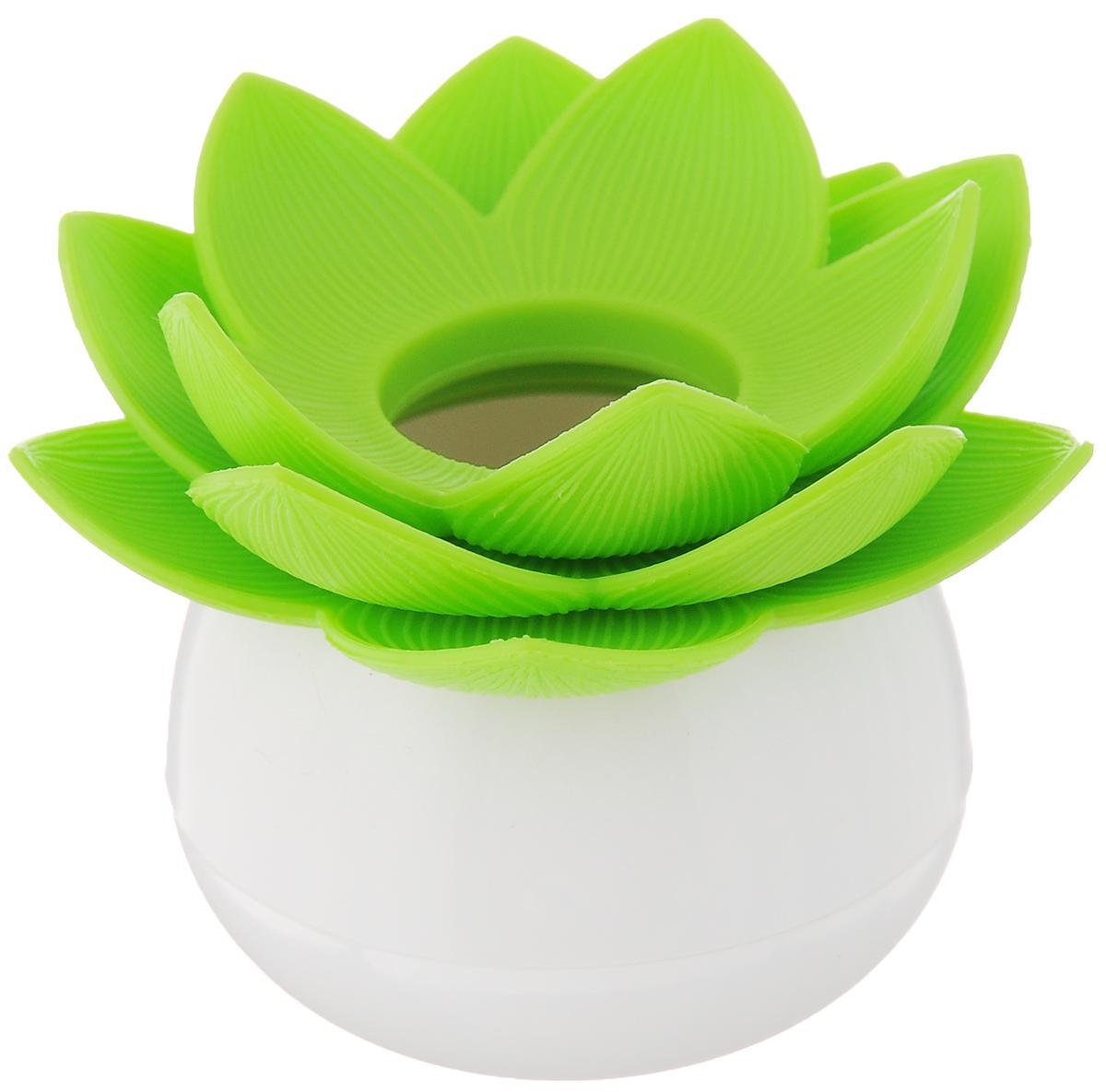 Держатель для зубочисток Qualy Lotus Pick, цвет: белый, зеленыйQL10156-WH-GNОригинальный держатель для зубочисток Qualy Lotus Pick, изготовленный из высококачественного пластика в виде цветка лотоса, это невероятно нужный на кухне предмет. Корпус изделия приятен на ощупь, благодаря прорезиненному покрытию. Он справляется со своей работой просто отлично! Зубочистки всегда рассыпаются, их трудно вставить обратно, не уколоться и не сломать. С таким держателем все просто! Держатель Lotus - это не только элемент декора вашей кухни, но и верный помощник в хранении зубочисток. Диаметр корпуса: 4 см. Диаметр цветка: 7 см. Высота изделия: 6 см. Уважаемые клиенты! Обращаем ваше внимание, что зубочистки в комплект не входят!