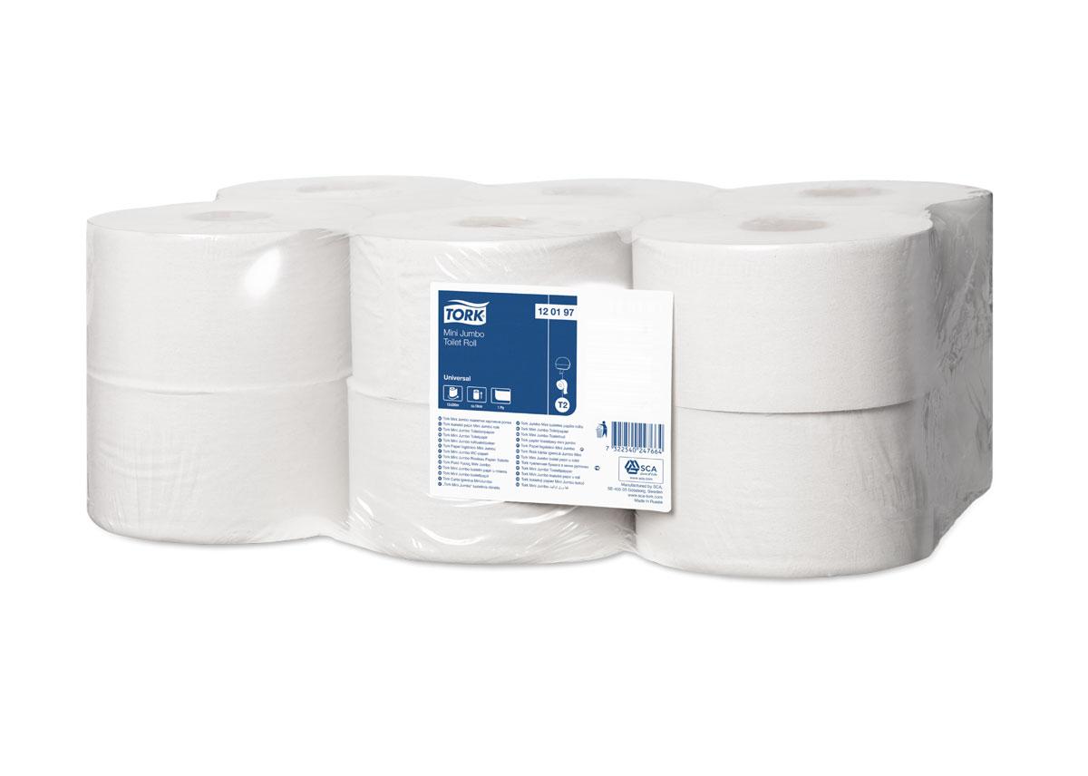 Tork туалетная бумага в мини рулонах 1-сл. 200м, коробка 12 шт120197Однослойная туалетная бумага Tork. Является экономичным решением для мест средней и высокой проходимости. Система Т2. Категория качества – Universal. Переработанное сырьё натурального цвета. Без перфорации. Длина рулона 200 м, ширина 10 см. В 1 коробке 12 рулонов.