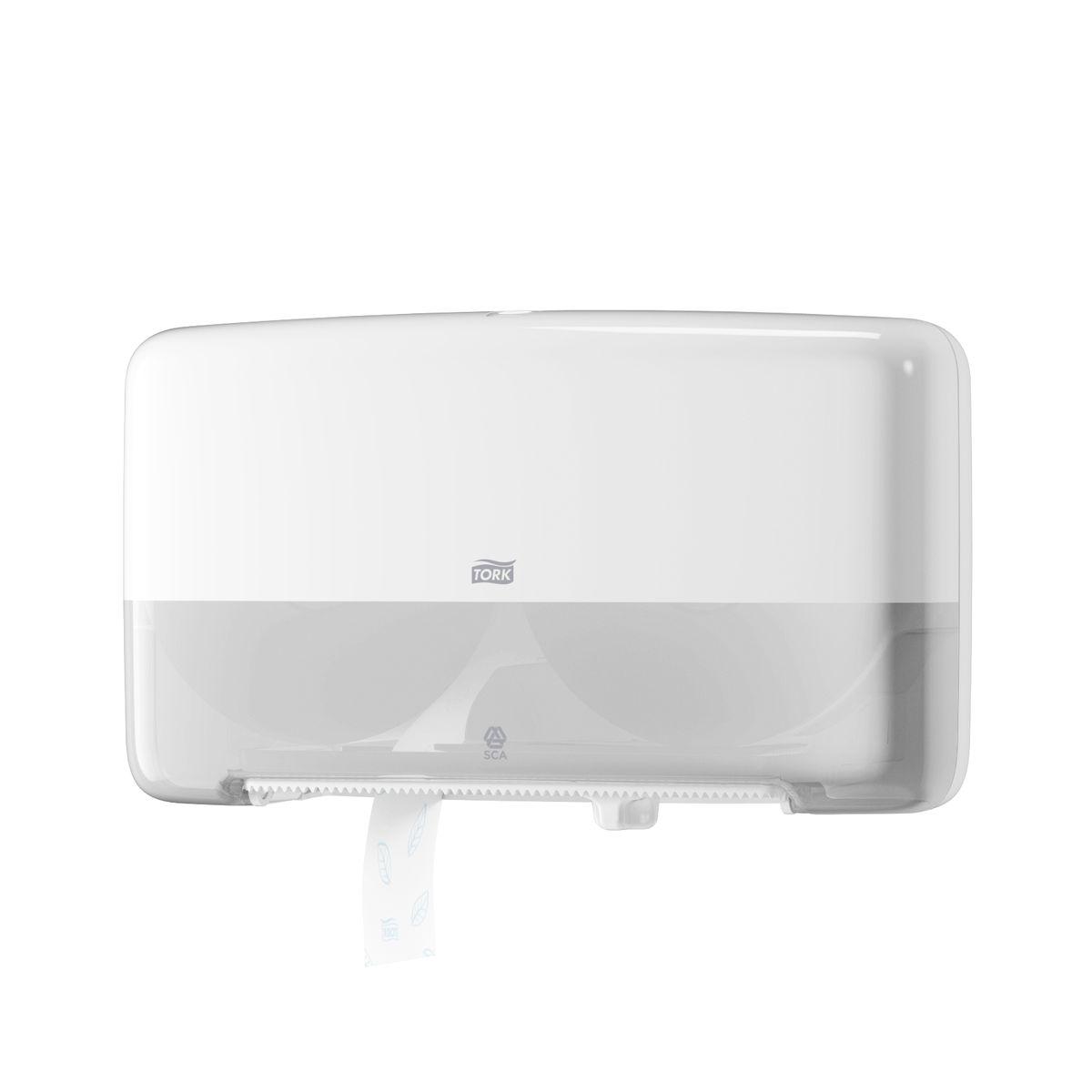 Диспенсер для туалетной бумаги Tork, цвет: белый. 555500555500Система T2 - для туалетной бумаги в мини рулонах Предназначен для туалетных комнат средне-высокой проходимости. Вмещает 2 мини рулона туалетной бумаги Tork Т2. Очень компактный. Емкость до 340м. Вмещает запасной рулон. Доступ к запасному рулону открывается, после окончания основного рулона. 100% использование каждого рулона. Стопор для плавного вращения и предотвращения перерасхода.