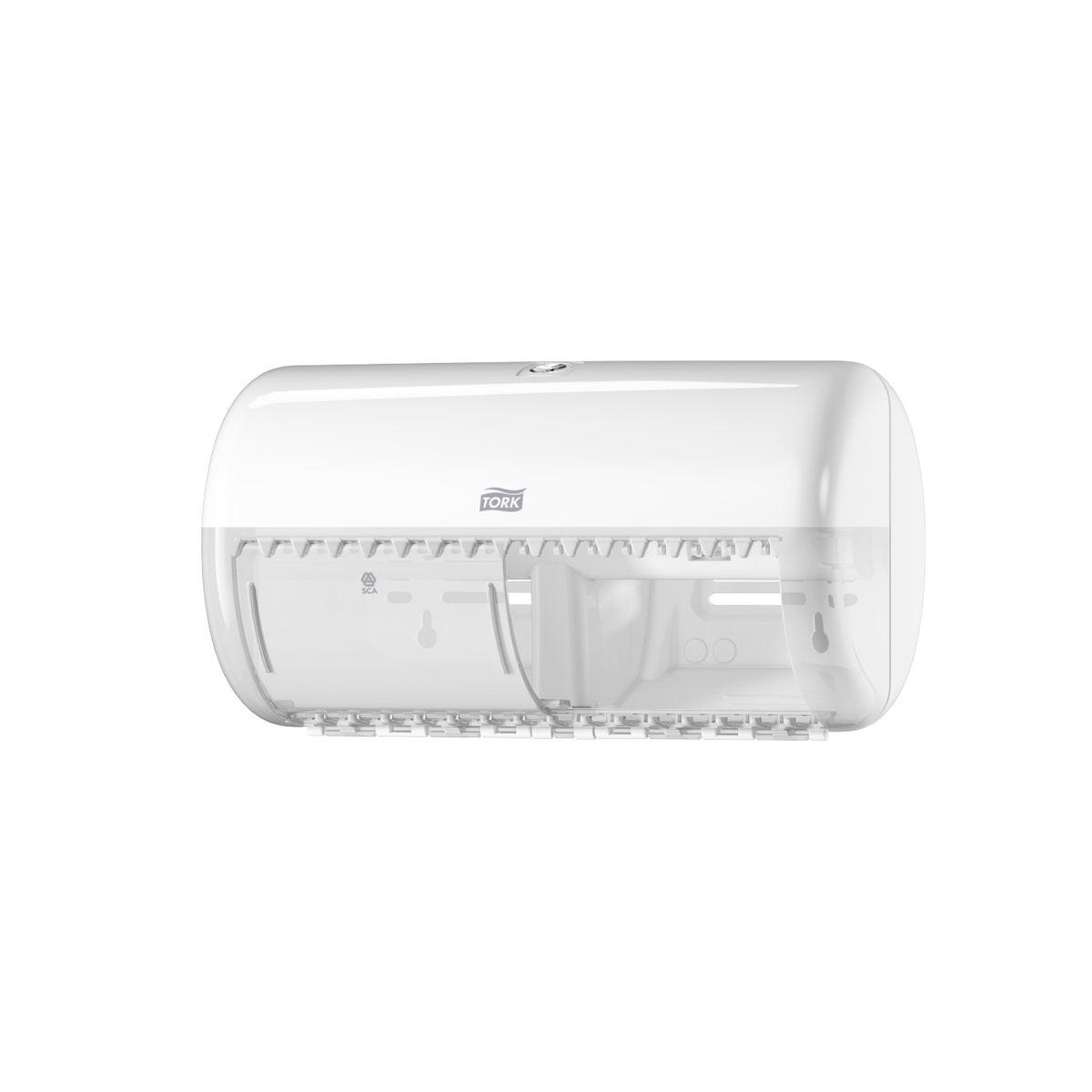 Диспенсер для туалетной бумаги Tork, цвет: белый. 557000557000Система Т4 - бумага в стандартных рулончиках. Практичный компактный диспенсер, вмещающий 2 стандартных рулона туалетной бумаги. Бумага легко отрывается с помощью удобных зубцов, даже не имея перфорации, защищается от повреждений и кражи. Диспенсер открывается с помощью ключа или нажатием на кнопку. В комплект входит инструкция по заправке и использованию.