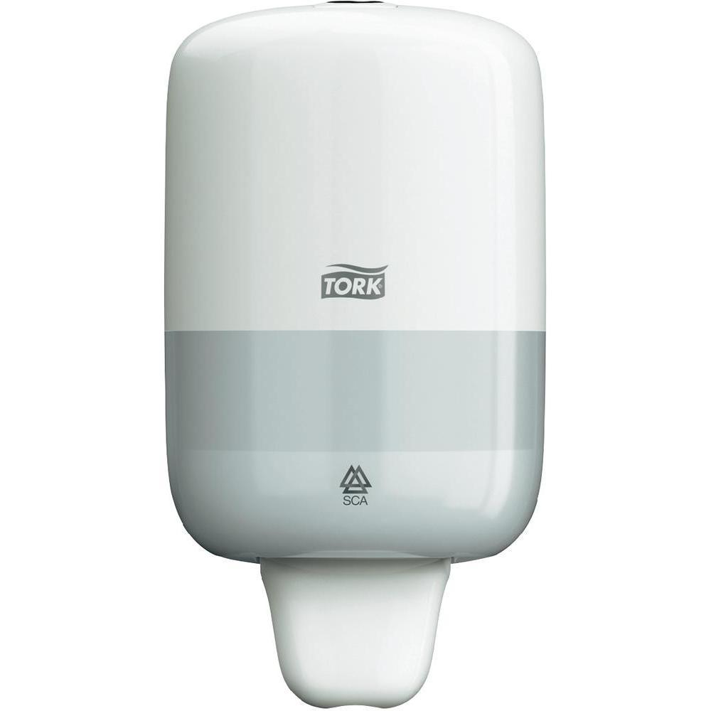 Диспенсер для мыла Tork, цвет: белый. 561000561000Дозатор используется в туалетных комнатах, имеющих среднюю и малую проходимость. Изделие изготовлено из пластика белого цвета. Дозатор предназначен для одного стандартного картриджа мыла Tork. Избежать протекания и засорения приспособления позволяет надежная система дозирования средства. Нажатие на клавишу приводит дозатор в действие. Приспособление обеспечивает экономичный расход: 1 нажатие соответствует 1 мл моющего средства.