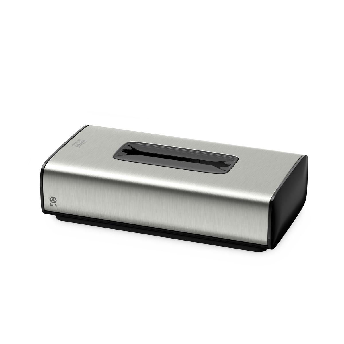 Диспенсер для бумажных полотенец Tork, цвет: металл. 460013460013Tork диспенсер для салфеток для лица (F1), подходит под салфетки для лица Tork F1. Диспенсер легко заправлять и поддерживать в чистоте. Имеет антискользящее покрытие. Возможность крепления на стену.