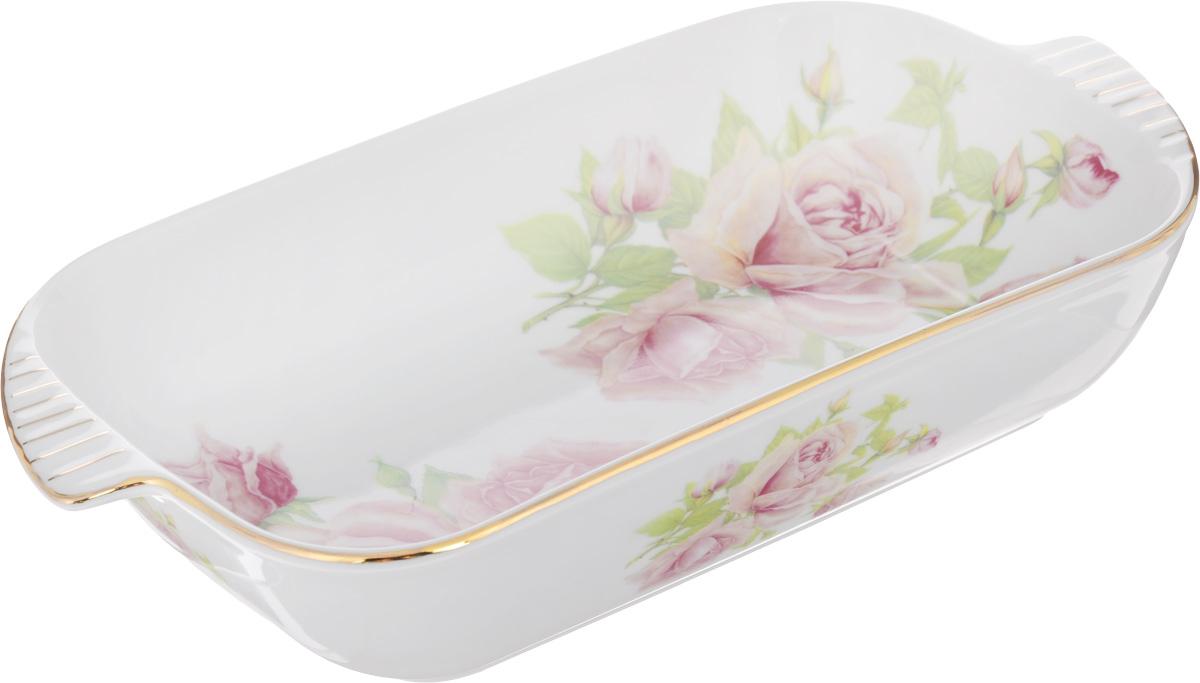 Шубница Elan Gallery Розовая фантазия, 900 мл503531Шубница Elan Gallery Розовая фантазия, выполненная из высококачественной керамики, идеальное блюдо для сервировки традиционного салата Сельдь под шубой или любого другого слоеного салата. Компактное, аккуратное блюдо с ручками для удобства станет незаменимым при любом застолье. Не рекомендуется применять абразивные моющие средства. Не использовать в микроволновой печи. Объем: 900 мл. Размер блюда (с учетом ручек): 29 х 16 см.