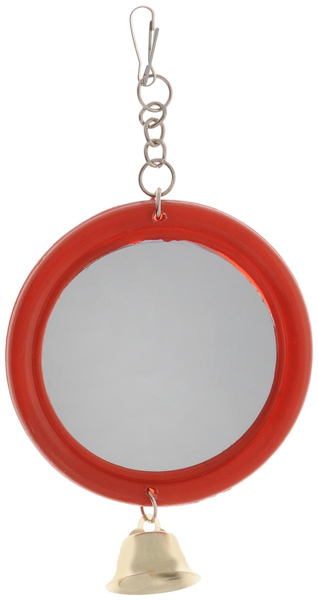 Игрушка для птиц Triol Зеркало с колокольчиком, цвет: красный, золотистый0120710Игрушка для птиц Triol Зеркало с колокольчиком - отличный способ развлечения для птиц. Игрушка представляет собой круглое зеркало в пластиковой раме. Внизу расположен колокольчик. Изделие подвешивается на клетку за крючок. Такая игрушка не даст заскучать вашему питомцу. Диаметр: 6,5 см.