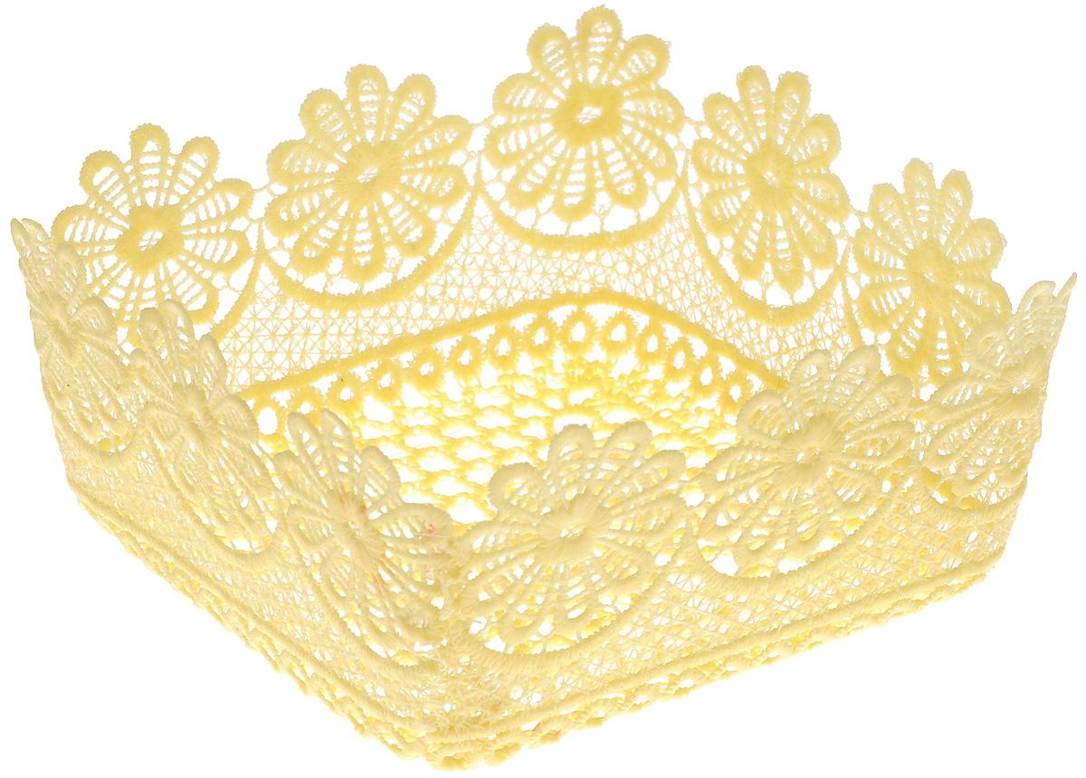Корзина декоративная Home Queen Ромашки, цвет: желтый, 16 х 16 х 8 см64342_2Декоративная ажурная корзина Home Queen Ромашки, выполненная из полиэстера, предназначена для хранения различных мелочей и аксессуаров, также отлично подойдет для пасхальных яиц и кулича. Изделие имеет жесткую форму. Такая корзина станет оригинальным украшением интерьера к Пасхе.
