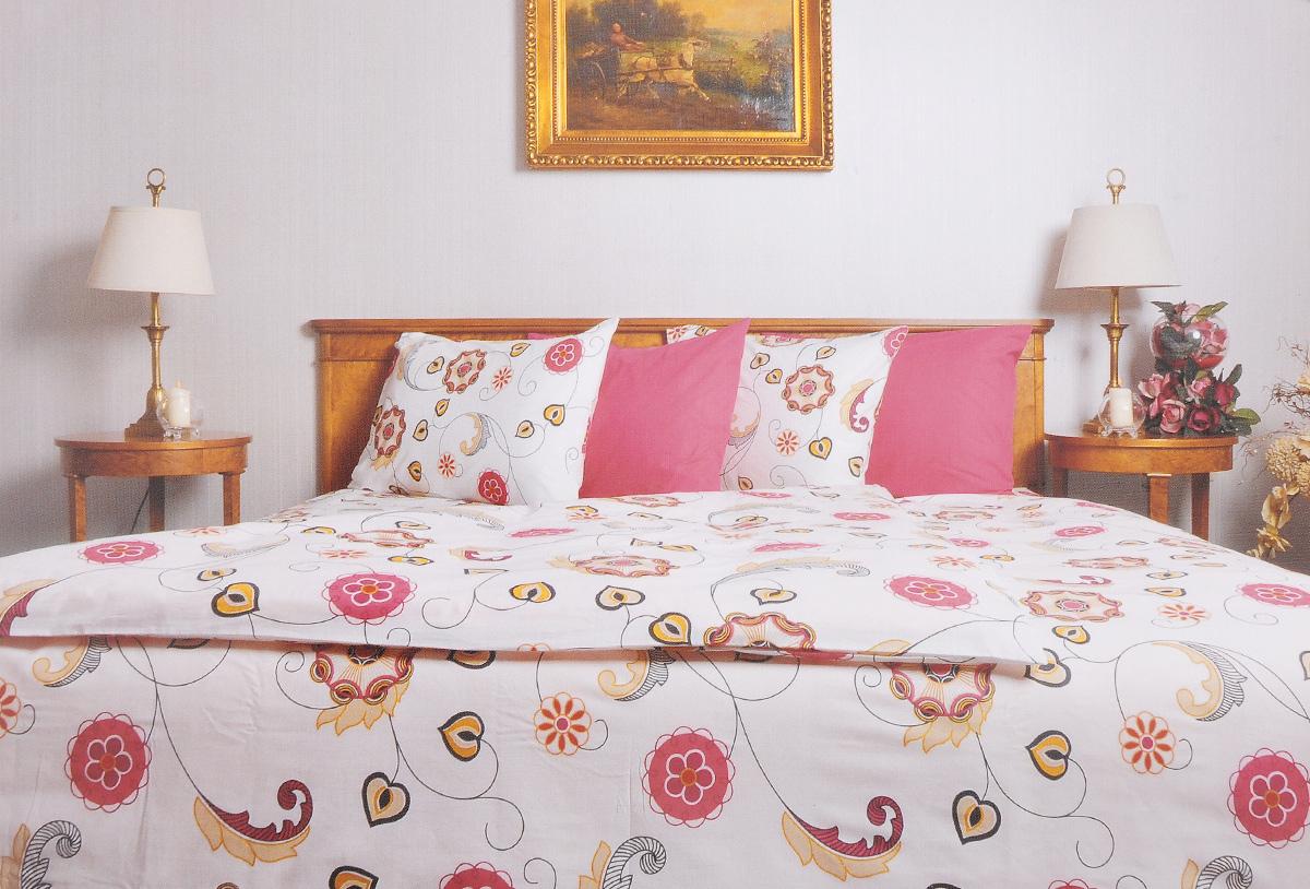 Комплект белья Brielle, 1,5-спальный, наволочка 50х70, цвет: белый, розовый (126)3001BrРоскошный комплект постельного белья Brielle выполнен из натурального ранфорса (100% хлопка) и украшен оригинальным рисунком. Комплект состоит из пододеяльника, простыни и наволочки. Ранфорс - это новая современная гипоаллергенная ткань из натуральных хлопковых волокон, которая прекрасно впитывает влагу, очень проста в уходе, а за счет высокой прочности способна выдерживать большое количество стирок. Высочайшее качество материала гарантирует безопасность. Доверьте заботу о качестве вашего сна высококачественному натуральному материалу.