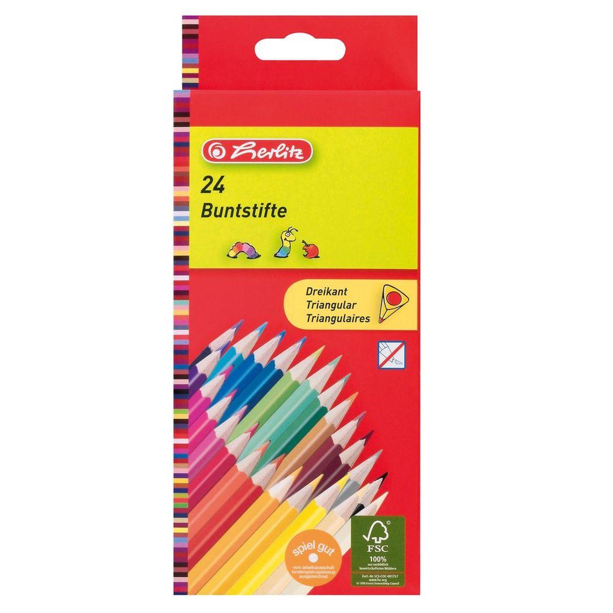 Herlitz Набор карандашей цветных трехгранные 24 шт 10412039
