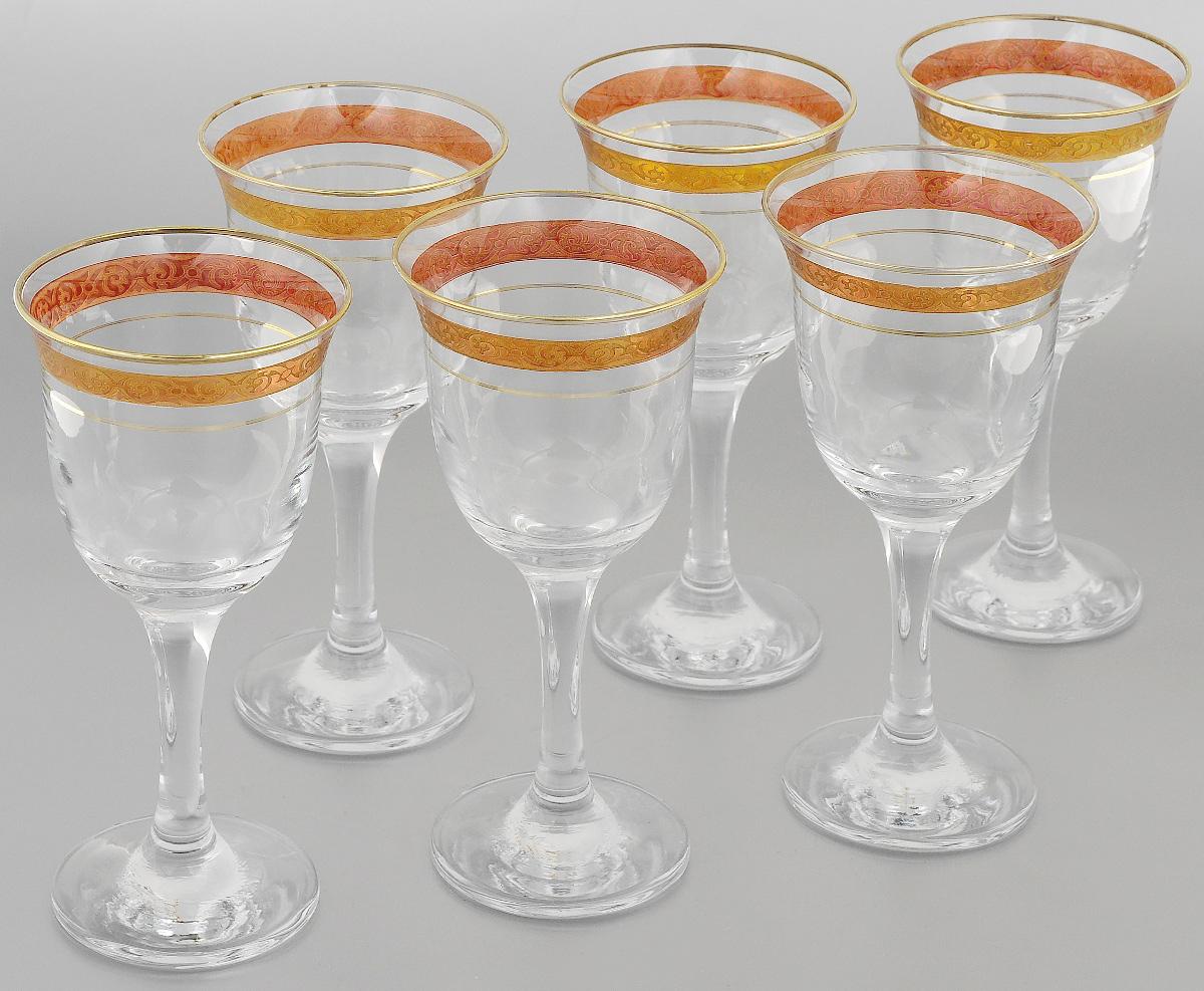 Набор фужеров Гусь-Хрустальный Махараджа, цвет: прозрачный, золотистый, розовый, 240 мл, 6 штVT-1520(SR)Набор Гусь-Хрустальный Махараджа состоит из 6 фужеров на изящных длинных ножках, изготовленных из высококачественного натрий-кальций-силикатного стекла. Изделия предназначены для подачи холодных напитков, вина и многого другого. Фужеры оформлены красивым зеркальным покрытием с матовым орнаментом. Такой набор прекрасно дополнит праздничный стол и станет желанным подарком в любом доме. Разрешается мыть в посудомоечной машине. Диаметр фужера (по верхнему краю): 8,5 см. Высота фужера: 18 см.