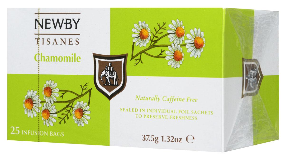 Newby Chamomile травяной чай в пакетиках, 25 шт0120710Ромашка, пожалуй, самый известный из всех травяных напитков с древнейшей историей. Эликсир молодости для древних египтян и панацея от всех болезней в 17 веке в Англии, сегодня ромашка ценится во всем мире как успокаивающее средство, улучшающее пищеварение. Травяной чай Newby Chamomile состоит из отборных измельченных цветков ромашки и имеет нежный настой с ароматом луга и сладковатым послевкусием.