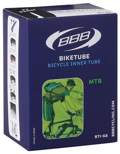 Камера велосипедная BBB, 2,1/2,35 FV, 48 мм, 27,5. BTI-68DE 0105Камера BBB изготовлена из долговечного резинового компаунда. Никаких швов, которые могут пропускать воздух. Достаточно большая для защиты от проколов и достаточно небольшая для снижения веса. Велосипедные камеры - обязательный атрибут каждого велосипедиста! Никогда не выезжайте из дома на велосипеде, не взяв с собой запасную велосипедную шину!Диаметр колеса: 27,5.Допустимый размер сечения покрышки: 2,1-2,35.Толщина стенки: 0,87 мм.