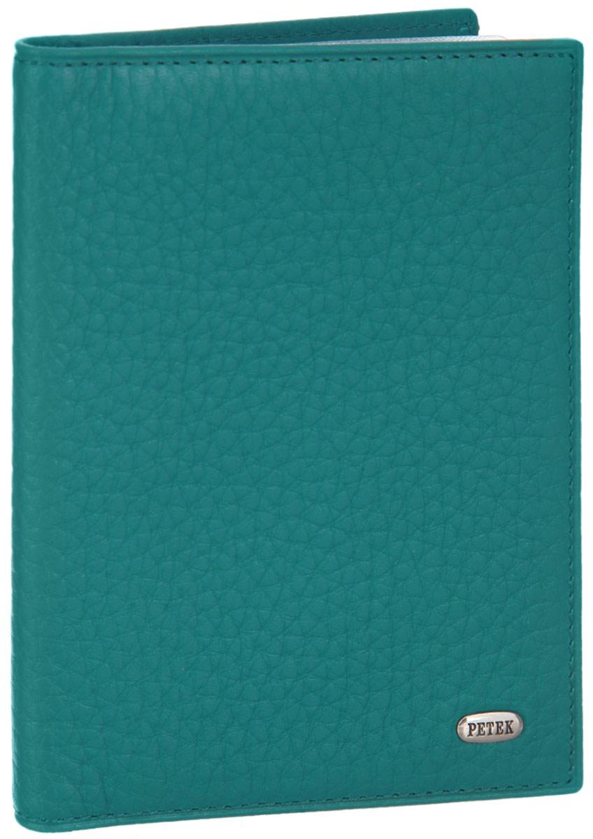 Обложка для автодокументов женская Petek 1855, цвет: морская волна. 584.46B.32SC-FD421005Стильная обложка для автодокументов Petek 1855 изготовлена из натуральной кожи с зернистой фактурой, оформлена металлической пластиной с символикой бренда.Внутри изделия расположены четыре прорезных кармашка для пластиковых карт, сетчатый карман и вкладыш, включающий в себя шесть файлов под автодокументы. Изделие поставляется в фирменной упаковке.Практичная и удобная модель обложки предназначена для тех, кто предпочитает все необходимое хранить в одном месте.