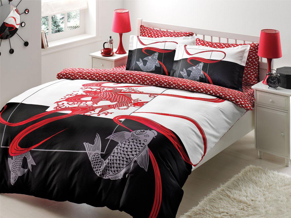 Комплект белья TAC Fontana, 2-спальный, наволочки 50х70, цвет: белый, красный, черный7030BРоскошный комплект постельного белья TAC Fontana выполнен из качественного плотного сатина с использованием фирменного нанесения Pano. Комплект состоит из пододеяльника, простыни и четырех наволочек. Пододеяльник застегивается на пуговицы. Сатин - гладкая и прочная ткань, которая своим блеском, легкостью и гладкостью похожа на шелк, но выгодно отличается от него в цене. Сатин практически не мнется, поэтому его можно не гладить. Ко всему прочему, он весьма практичен, так как хорошо переносит множественные стирки. Доверьте заботу о качестве вашего сна высококачественному натуральному материалу.