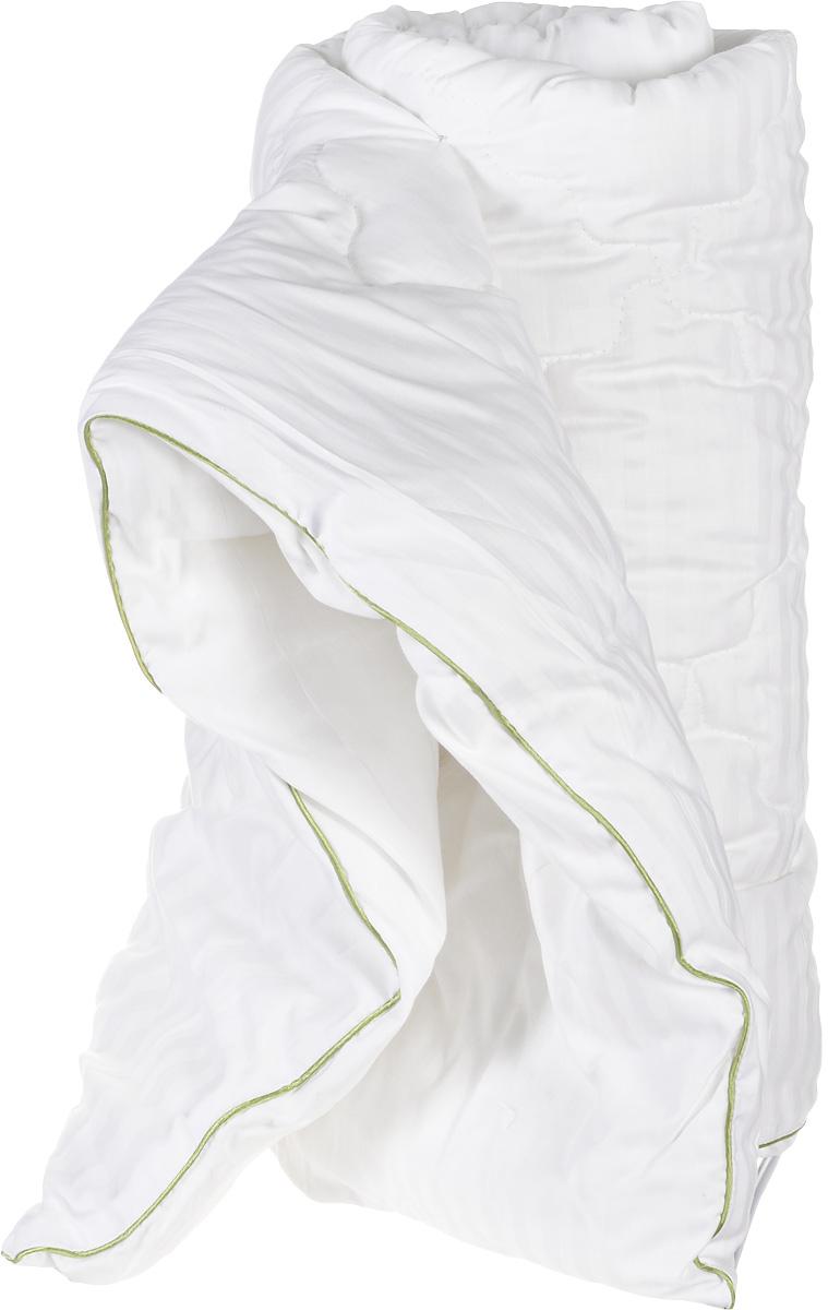 Одеяло теплое Легкие сны Бамбоо, наполнитель: бамбуковое волокно, 140 х 205 смS03301004Теплое 1,5-спальное одеяло Легкие сны Бамбоо с наполнителем из бамбука расслабит, снимет усталость и подарит вам спокойный и здоровый сон. Волокно бамбука - это натуральный материал, добываемый из стеблей растения. Он обладает способностью быстро впитывать и испарять влагу, а также антибактериальными свойствами, что препятствует появлению пылевых клещей и болезнетворных бактерий. Изделия с наполнителем из бамбука легко пропускают воздух, создавая охлаждающий эффект, поэтому им нет равных в жару. Они отличаются превосходными дезодорирующими свойствами, мягкие, легкие, простые в уходе, гипоаллергенные и подходят абсолютно всем. Чехол одеяла выполнен из сатина (100% хлопок). Одеяло простегано и окантовано. Стежка надежно удерживает наполнитель внутри и не позволяет ему скатываться. Одеяло можно стирать в стиральной машине. Плотность наполнителя: 300 г/м2.