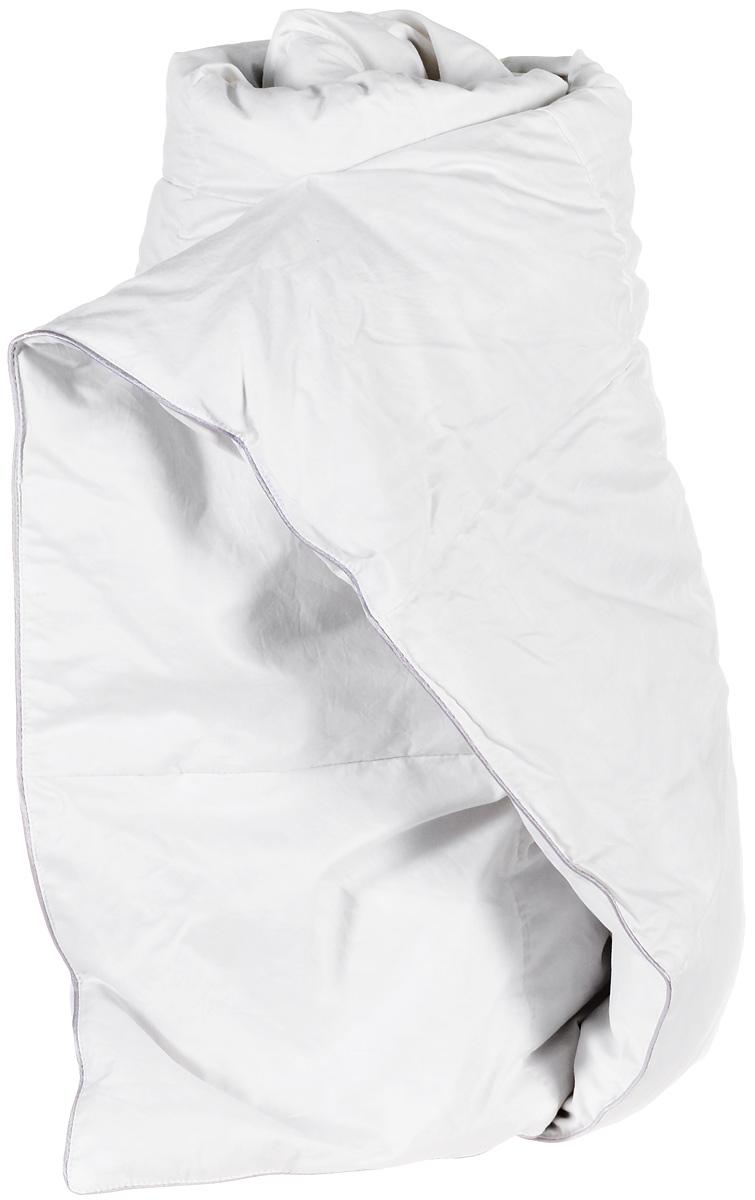 Одеяло легкое Легкие сны Лоретта, наполнитель: гусиный пух категории Экстра, 172 х 205 см172(17)03-ЭБОЛегкое двуспальное одеяло Легкие сны Лоретта поможет расслабиться, снимет усталость и подарит вам спокойный и здоровый сон. Одеяло наполнено серым гусиным пухом категории Экстра, оно необычайно легкое, пышное, обладает превосходными теплозащитными свойствами. Кассетное распределение пуха способствует сохранению формы и воздушности изделия. Чехол одеяла выполнен из благородного белоснежного пуходержащего сатина (100% хлопок). Серый шелковый кант изящно подчеркивает форму и оттеняет гладкость и блеск сатина. Цвет изделия дает возможность использовать постельное белье светлых оттенков. Под нежным, мягким и теплым одеялом вам приснятся только сказочные сны. Одеяло можно стирать в стиральной машине.
