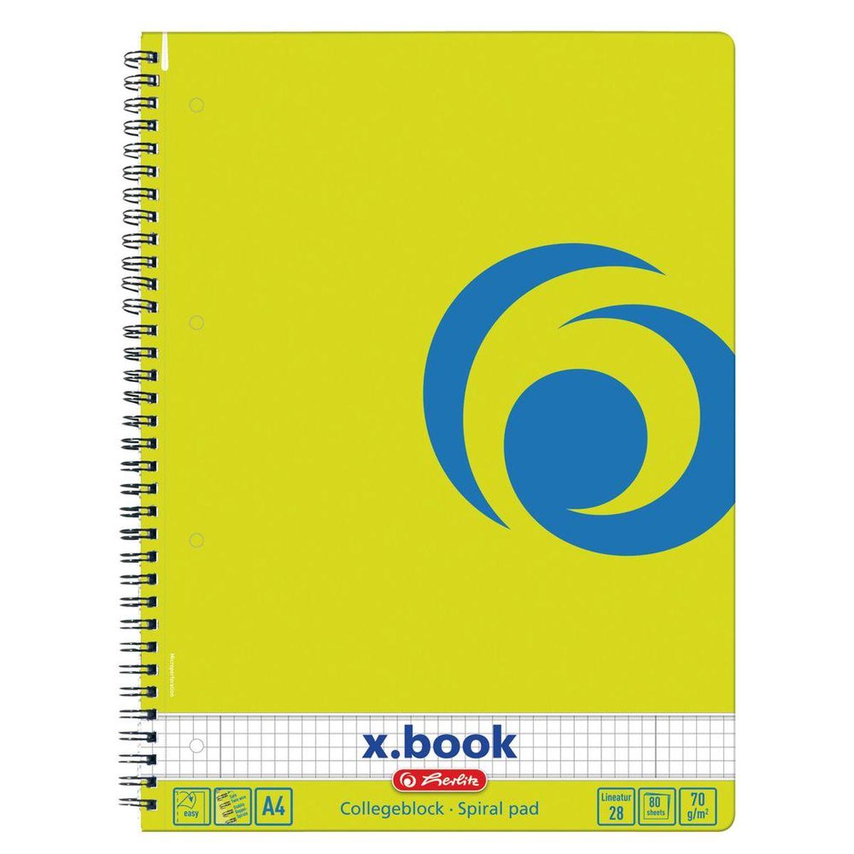 Herlitz Блокнот x.book Лимон 80 листов в клетку12-13/ГПБлокнот Herlitz серии x.book - ваш идеальный партнер для дома и отдыха. Благодаря разнообразию форм в четырех форматах от А4 до А7, x.book пригодится в любой ситуации и поднимет настроение благодаря веселым расцветкам, например, солнечный желтый, яркий красный, сочный зеленый и сияющий синий.Блокнот содержит 80 листов формата А4 в клетку с полями. Обложка выполнена из качественного ламинированного картона. Внутренний спиральный блок изготовлен из металла и гарантирует надежное крепление листов.Блокнот для записей от Herlitzстанет достойным аксессуаром среди ваших канцелярских принадлежностей. Это отличный подарок как коллеге или деловому партнеру, так и близким людям.