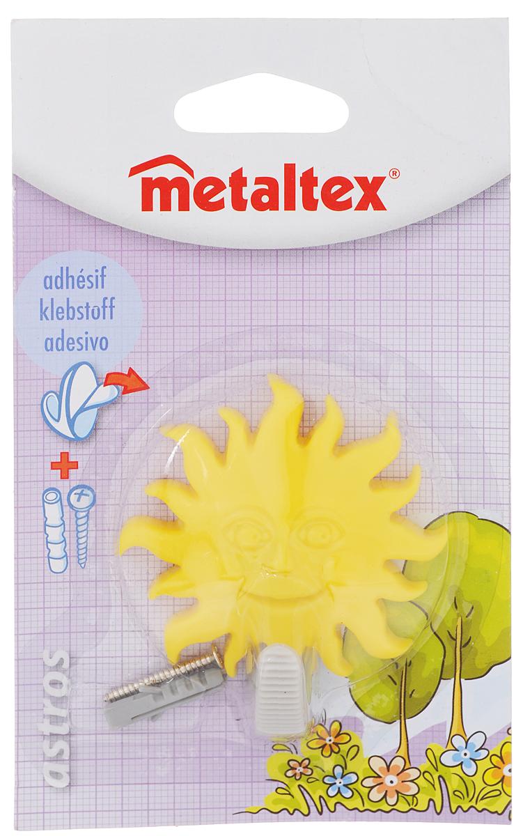 Крючок настенный Metaltex Astros. Солнце, цвет: желтый29.05.2010_желтыйНастенный крючок Metaltex Astros. Солнце изготовлен из высококачественного цветного пластика в виде забавной фигурки. Он прекрасно подойдет для вашей ванной комнаты или кухни и не займет много места, надежно выдержав все, что вы на него повесите. Крючок крепится на стену с помощью липкой ленты, которая находится на задней стороне крючка или при помощи шурупа (входит в комплект). Он приклеивается к гладкой, ровной и чистой поверхности. На него можно вешать полотенца или любые другие вещи.