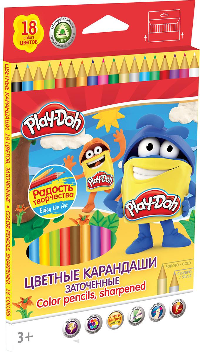 Play-Doh Набор цветных карандашей 18 цветовPDCP-US1-3QP-18Цветные карандаши Play-Doh откроют юным художникам новые горизонты для творчества, а также помогут отлично развить мелкую моторику рук, цветовое восприятие, фантазию и воображение. Эргономичная трехгранная форма корпуса прививает навык правильно держать пишущий инструмент и удобна для маленьких детских ручек. Специальное покрытие и лакировка уменьшает скольжение, что делает процесс рисования максимально комфортным. Мягкий ударопрочный грифель не ломается и не крошится при заточке. Набор включает 18 заточенных карандашей ярких насыщенных цветов, включая золотистый и серебристый.