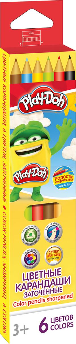 Play-Doh Набор цветных карандашей 6 цветовPDCP-US1-3QP-6Цветные карандаши Play-Doh имеют эргономичный трехгранный корпус из розового дерева, который особенно удобен для маленьких детских ручек. Специальное покрытие и многослойная лакировка уменьшают скольжение карандашей в руках при их использовании. Рисование карандашами способствует развитию творческого мышления, мелкой моторики рук, фантазии и воображения вашего юного художника. Трехгранная форма корпуса каждого карандаша прививает навык правильно держать пишущий инструмент. Карандаши от Play- Doh безопасны для вашего ребенка. Рекомендуемый возраст от 3-х лет.
