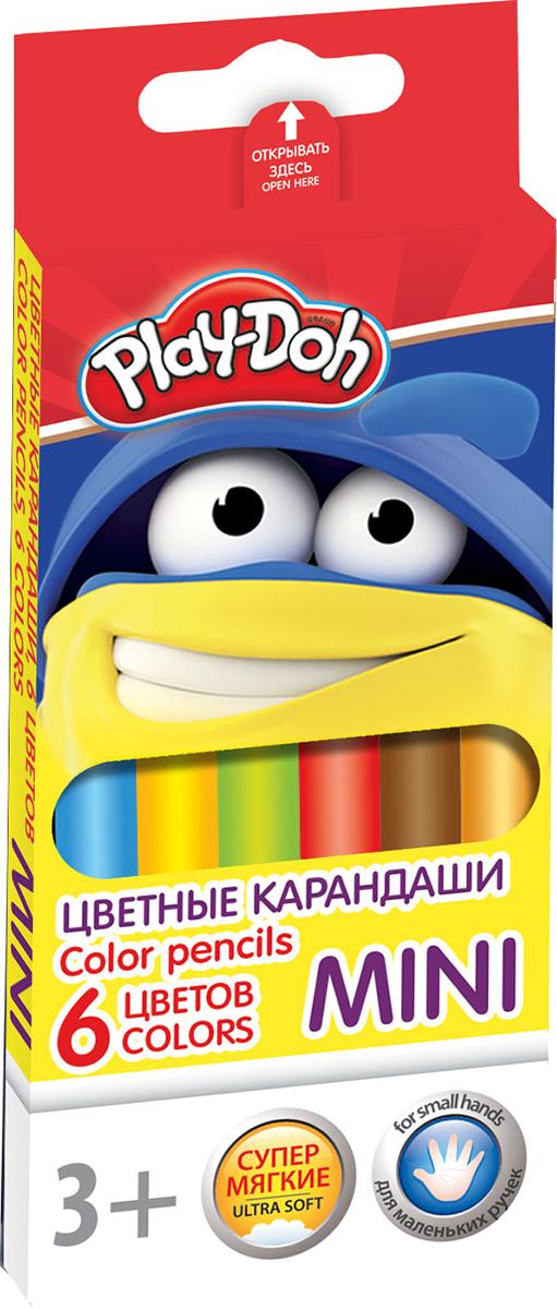 Play-Doh Набор цветных карандашей Mini 6 цветов610842Цветные карандаши Play-Doh Mini откроют юным художникам новые горизонты для творчества, а также помогут отлично развить мелкую моторику рук, цветовое восприятие, фантазию и воображение.Эргономичная трехгранная форма корпуса прививает навык правильно держать пишущий инструмент и удобна для маленьких детских ручек. Специальное покрытие и лакировка уменьшает скольжение, что делает процесс рисования максимально комфортным. Мягкий ударопрочный грифель не ломается и не крошится при заточке. Набор включает 6 заточенных карандашей ярких насыщенных цветов.