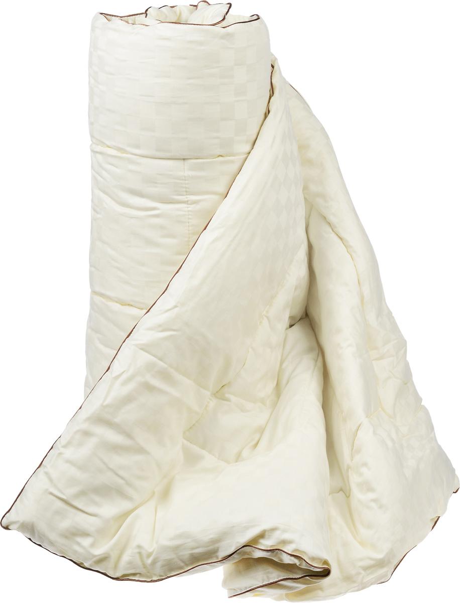 Одеяло теплое Легкие сны Милана, наполнитель: шерсть кашемировой козы, 140 х 205 см140(34)03-КШТеплое одеяло Легкие сны Милана с наполнителем из шерсти кашемировой козы расслабит, снимет усталость и подарит вам спокойный и здоровый сон. Пух горной козы не содержит органических жиров, в нем не заводятся пылевые клещи, вызывающие аллергические реакции. Он очень легкий и обладает отличной теплоемкостью. Одеяла из такого наполнителя имеют широкий диапазон климатической комфортности и благоприятно влияют на самочувствие людей, страдающих заболеваниями опорно-двигательной системы. Шерстяные волокна, получаемые из чесаной шерсти горной козы, имеют полую структуру, придающую изделиям высокую износоустойчивость. Чехол одеяла, выполненный из сатина (100% хлопка), отлично пропускает воздух, создавая эффект сухого тепла. Одеяло простегано и окантовано. Стежка надежно удерживает наполнитель внутри и не позволяет ему скатываться. Плотность наполнителя: 300 г/м2.
