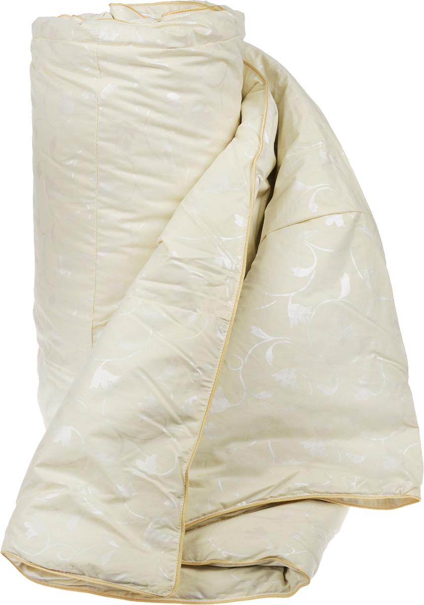 Одеяло теплое Легкие сны Камелия, наполнитель: гусиный пух, 140 х 205 см140(15)02-ЛТеплое 1,5-спальное одеяло Легкие сны Камелия поможет расслабиться, снимет усталость и подарит вам спокойный и здоровый сон. Одеяло наполнено серым гусиным пухом первой категории. Кассетное распределение пуха способствует сохранению формы и воздушности изделия. Теплое пуховое одеяло - отличный вариант на зиму и осень. Чехол одеяла выполнен из пуходержащего тика цвета шампань с растительным рисунком. Тик - это натуральная хлопчатобумажная ткань, отличающаяся высокой плотностью, идеально подходит для пухо-перовых изделий, так как устойчива к проколам и разрывам, а также отличается долговечностью в использовании. Одеяло простегано и отделано по краю шелковым кантом золотистого цвета. Одеяло можно стирать в стиральной машине.