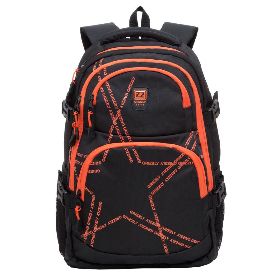 Рюкзак городской Grizzly, цвет: черный, оранжевый, 22 л. RU-618-2/2RU-618-2/2Рюкзак молодежный, два отделения, два объемных кармана на молнии на передней стенке, боковые карманы из сетки, боковые стяжки-фиксаторы, внутренний карман-пенал для карандашей, внутренний подвесной карман на молнии, укрепленная спинка, нагрудная стяжка-фиксатор, укрепленные лямки