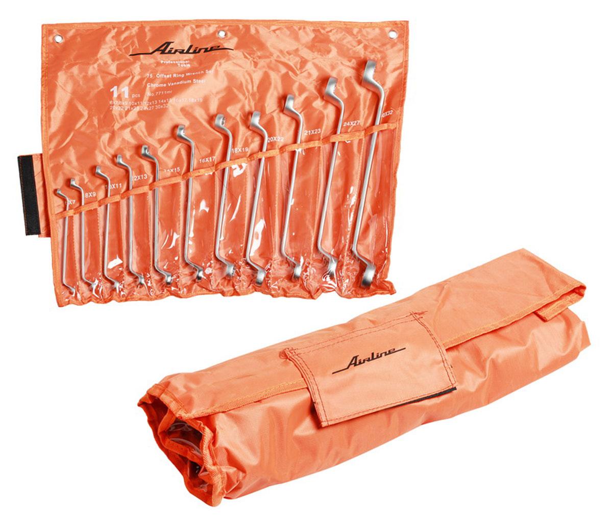 Набор ключей накидных Airline, в мягкой сумке, 6 мм - 32 мм, 11 штAT-11-13Набор накидных ключей Airline необходим каждому автомобилисту для проведения разноплановых ремонтных работ. В комплекте представлено 11 ключей с различными размерными характеристиками. Все инструменты изготовлены из инструментальной ванадиевой стали. Для удобной транспортировки набора предусмотрена специальная сумка с отдельными кармашками для каждого инструмента. Долговечные, эргономичные, крепко слаженные инструменты Airline подойдут любому - от требовательного мастера до высококлассного специалиста. Состав набора: ключ накидной 6х7, 8х9, 10х11, 12х13, 14х15, 16х17, 18х19, 20х22, 21х23, 24х27, 30х32 мм