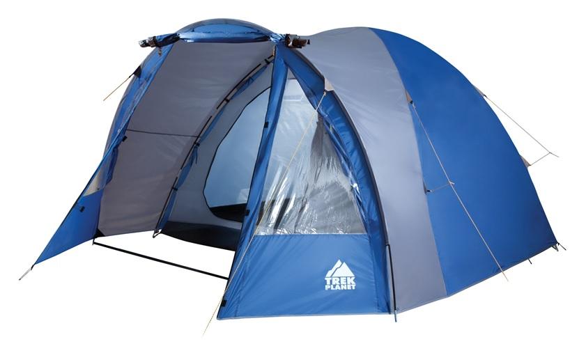 Палатка четырехместная Trek Planet Indiana 4, цвет: синий, серый70112Четырехместная двухслойная кемпинговая высокая палатка Trek Planet Indiana 4 с хорошей вентиляцией и большим и светлым тамбуром, хорошо подойдет для кемпинга выходного дня или отдыха на природе с семьей. ОСОБЕННОСТИ МОДЕЛИ: - Простая и быстрая установка, - Тент палатки из полиэстера с пропиткой PU надежно защищает от дождя и ветра. - Все швы проклеены. - Высокий, вместительный и светлый тамбур, - Большие обзорные окна в тамбуре, - Дно из прочного водонепроницаемого армированного полиэтилена позволяет устанавливать палатку на жесткой траве, песчаной поверхности, глине и т.д. - Дуги из прочного стеклопластика; - Внутренняя палатка из дышащего полиэстера, обеспечивает вентиляцию помещения и позволяет конденсату испаряться, не проникая внутрь палатки; - Вентиляционное окно в спальном отделении, - Удобная D-образная дверь на входе во внутреннюю палатку, - Москитная сетка на входе в спальное отделение в полный размер двери, - Внутренние...