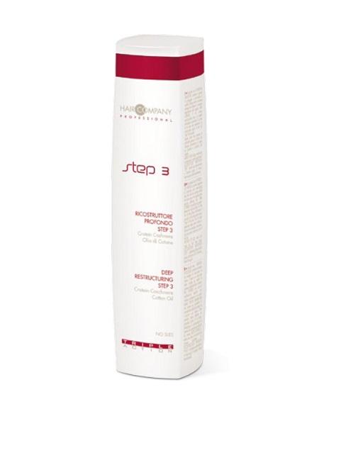 Hair Company Глубокое восстановление шаг 3 Triple Action Deep Restructuring Step 3 250 мл101599Завершающий этап процедуры глубокого восстановления волос Hair Company Triple Action Step 3 deep restructuring разглаживает и защищает поверхность волос (кутикулу). Благодары кондиционирующему эффекту волосы будут легко расчесываться, а тонкая пленка на поверхности защитит их при укладке.Содержит белок кашемира (Protein Cashemire) — комплекс аминокислот, обладающий сильным увлажняющим действием, который проникает в волосяную луковицу, восстанавливает и кондиционирует волосы и хлопковое масло (Cotton oil) — питает волосы, делает их мягкими, струящимися и шелковистыми.Третий шаг выглаживает внешнюю часть волос, закрывает чешуйки легкой пленкой, делает поверхность ровной, придает волосам красивый блеск.