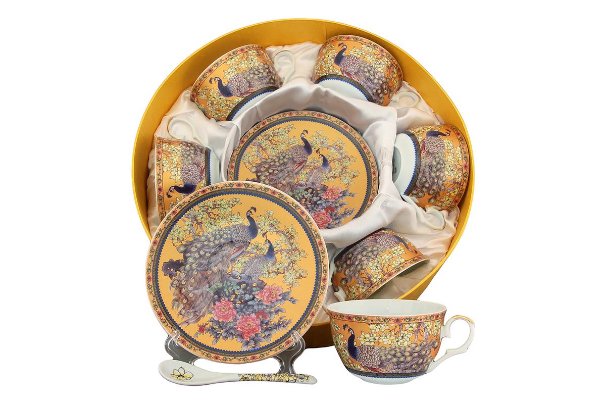 Чайный набор Elan Gallery Павлин, 12 предметов с ложками. 180814180814Чайный набор - это отличный подарок, подходящий для любого повода. Принесет в ваш дом красоту и уют душевных чаепитий! Размеры: 110x60x95 мм, 150x150x20 мм.