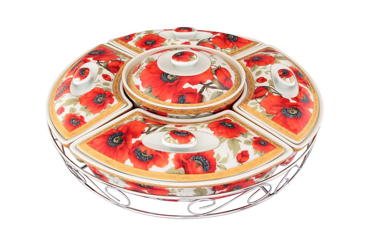 Менажница Elan Gallery Маки, с крышками, на подставке, 5 секций471279Менажница Elan Gallery Маки, выполненная из высококачественной керамики, состоит из 5 съемных секций с крышками, оформленных ярким цветочным рисунком. Она предназначена для подачи сразу нескольких видов закусок, нарезок или соусов. Изделие размещено на крутящейся металлической подставке. Менажница Elan Gallery Маки станет настоящим украшением праздничного стола и подчеркнет ваш изысканный вкус. Не рекомендуется применять абразивные моющие средства. Не использовать в микроволновой печи.