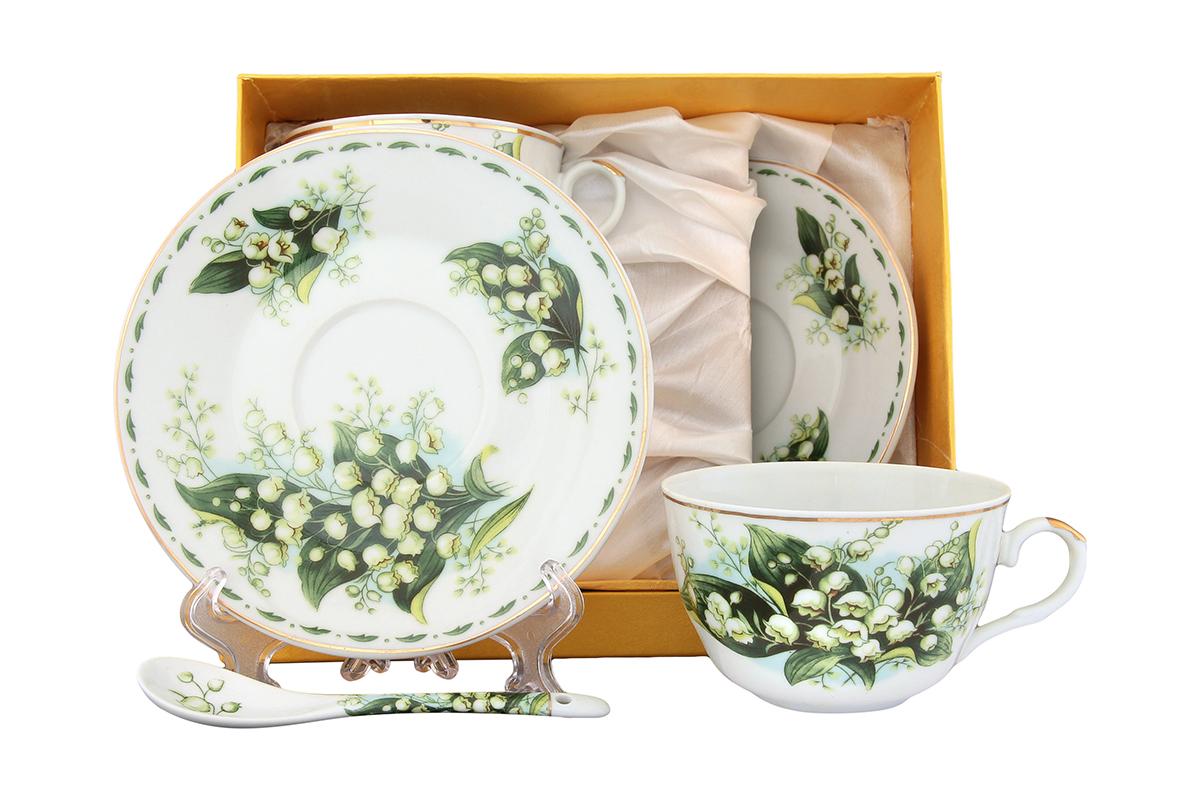 Чайная пара Elan Gallery Ландыши, 4 предмета с ложками115510Великолепный чайный набор на 2 персоны станет шикарным подарком. В комплекте 2 чашки объемом 250 мл, 2 блюдца, 2 ложечки. Изделие имеет подарочную упаковку, поэтому станет желанным подарком для ваших близких! Размеры: 105x60x95 мм, 145x145x20 мм.