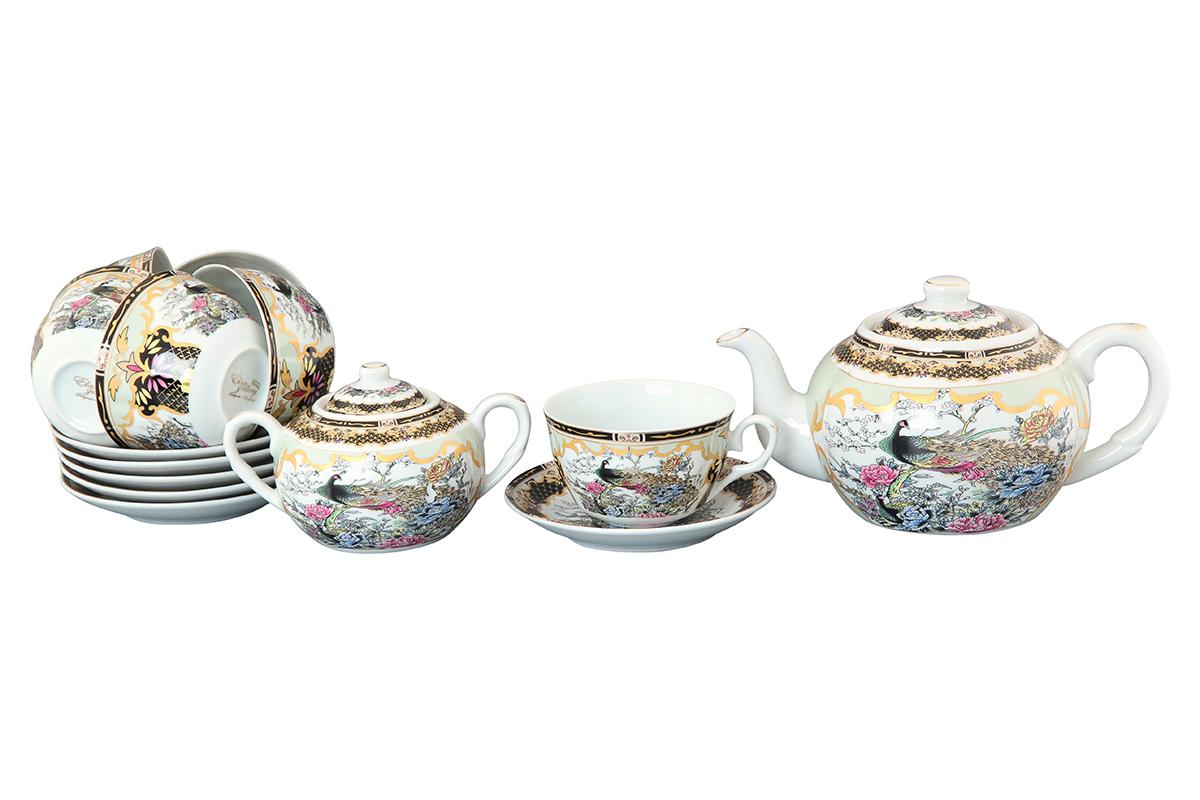 Чайный набор Elan Gallery Павлин, 14 предметов. 730503730503Чайный сервиз на 6 персон из традиционной коллекции Павлин на золоте - неотъемлемый атрибут чаепития и служит не только посудой, но и источником эстетического наслаждения. Изделие имеет подарочную упаковку, идеальный подарок для ваших близких! Чашки -250 мл., сахарница - 400 мл., чайник - 900 мл. Размеры: 60x110x95 мм, 140x140x20 мм.