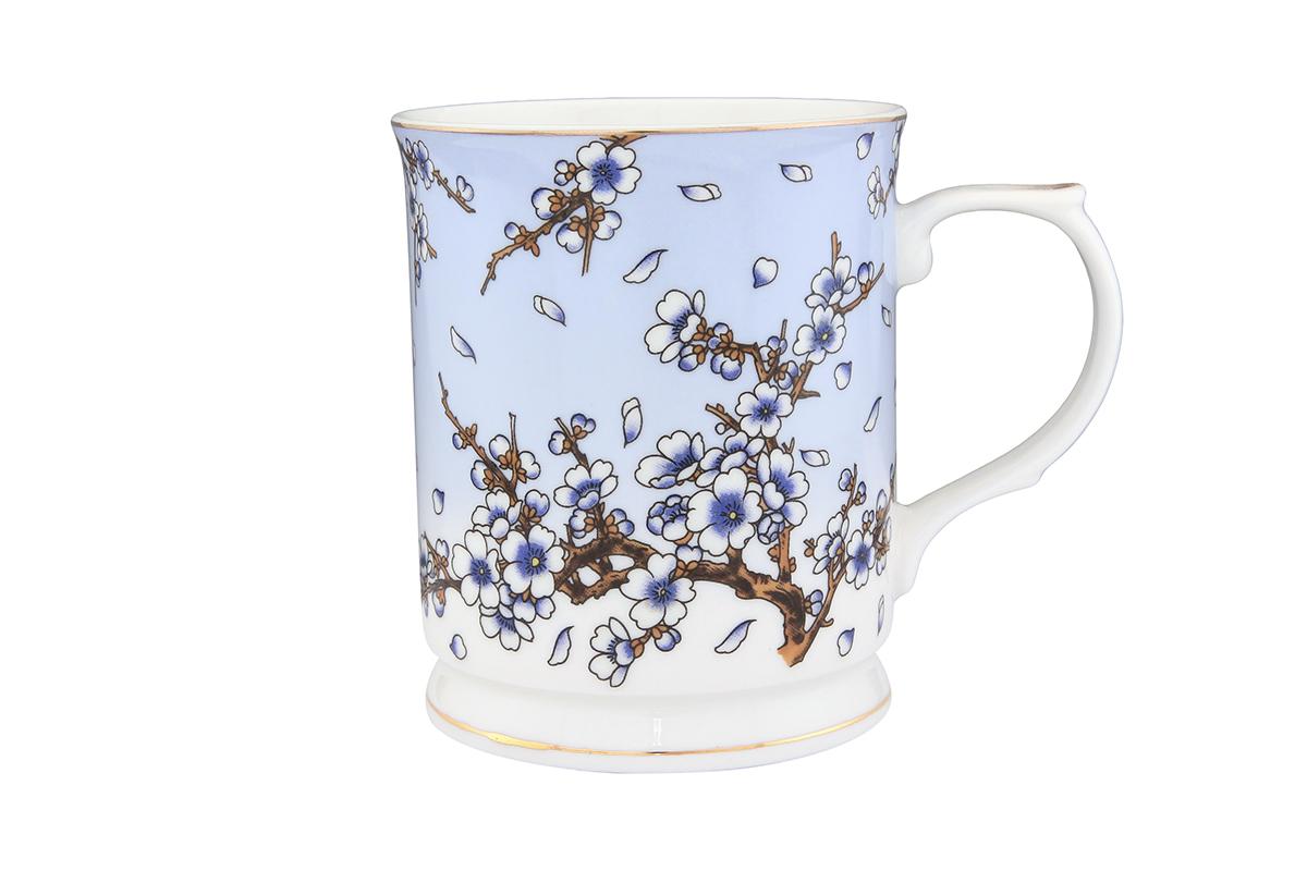 Кружка Elan Gallery Сакура на голубом, 400 мл730555Кружка с замечательным рисунком любителям долгих и душевных чаепитий в компании.