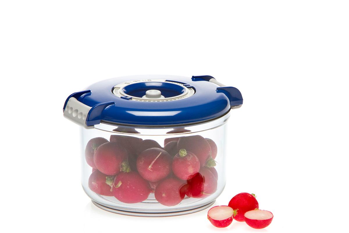 Контейнер вакуумный Status, цвет: прозрачный, синий, 0,75 лVAC-RD-075 BlueВакуумный контейнер Status рекомендован для хранения следующих продуктов: фрукты, овощи, хлеб, колбасы, сыры, сладости, соусы, супы. Благодаря использованию вакуумных контейнеров, продукты не подвергаются внешнему воздействию и срок хранения значительно увеличивается. Продукты сохраняют свои вкусовые качества и аромат, а запахи в холодильнике не перемешиваются. Контейнер изготовлен из прочного хрустально-прозрачного тритана. На крышке - индикатор даты (месяц, число). Допускается замораживание (до -21 °C), мойка контейнера в посудомоечной машине, разогрев в СВЧ (без крышки). Объем контейнера: 0,75 л. Размер: 13 х 10 см.
