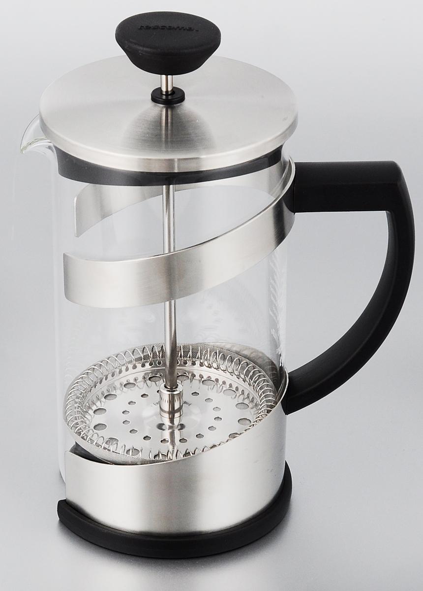 Френч-пресс Tescoma Teo, 600 мл646632Френч-пресс Tescoma Teo, изготовленный из огнеупорного стекла, первоклассной нержавеющей стали и стойкого пластика, используется для приготовления чая или кофе. Фильтр-поршень оснащен ситечком для обеспечения равномерной циркуляции воды. Засыпая чайную заварку или кофе под фильтр, заливая горячей водой, вы получаете ароматный напиток с оптимальной крепостью и насыщенностью. Остановить процесс заваривания легко, для этого нужно просто опустить поршень, и все уйдет вниз, оставляя вверху напиток, готовый к употреблению. Такой френч-пресс позволит быстро и просто приготовить свежий и ароматный кофе или чай. Диаметр колбы (по верхнему краю): 8,5 см. Высота френч-пресса (без учета крышки): 15,5 см.
