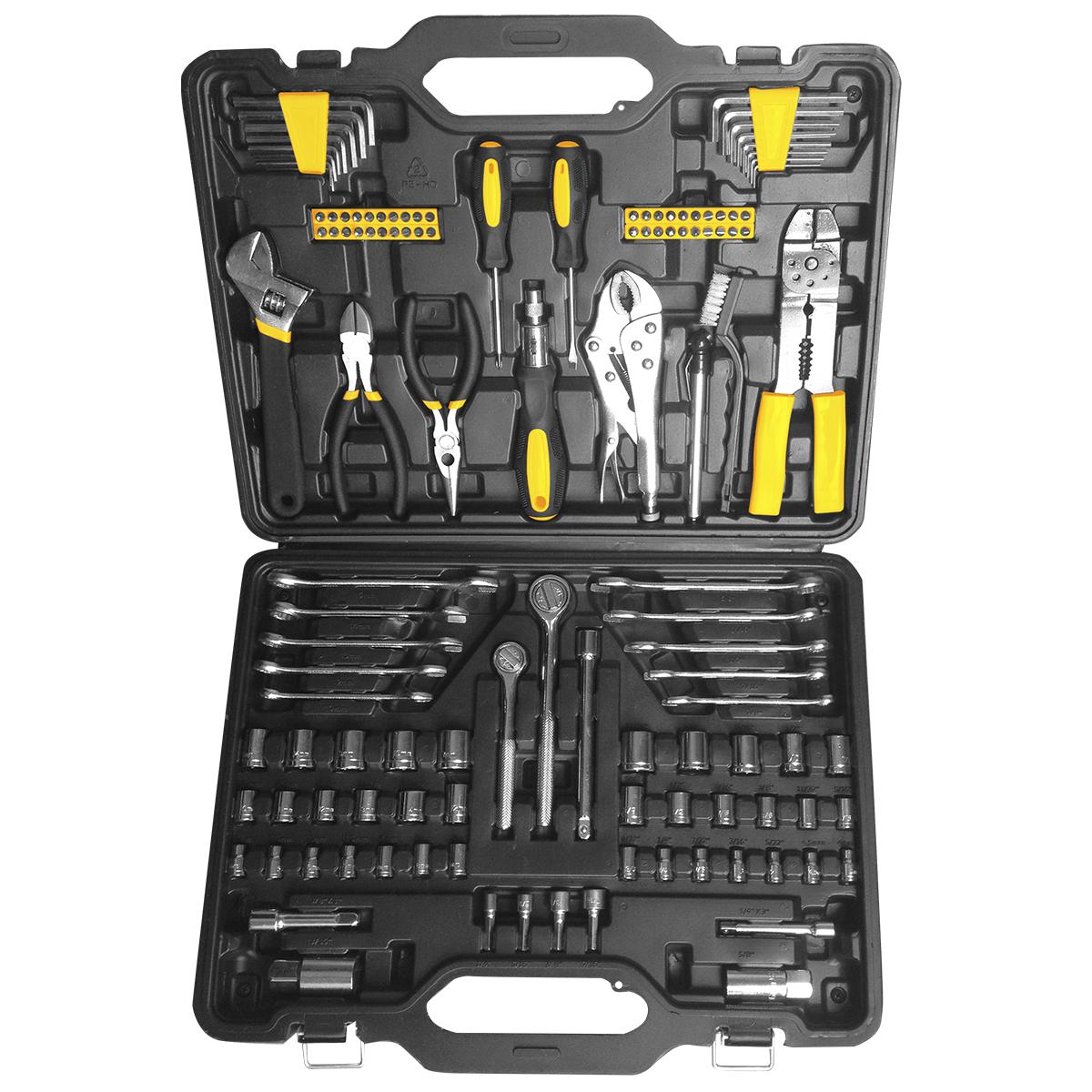 Набор инструментов Kolner KTS, 123 предмета80621Набор Kolner KTS содержит все необходимые инструменты для выполнения любых слесарных работ. Инструменты изготовлены из высококачественной хромованадиевой стали и закалены, благодаря чему имеют большой срок эксплуатации. Рукоятки инструментов обеспечивают комфорт во время работы, не утомляют и не натирают руку. Универсальный набор инструментов поставляется в кейсе, который удобно взять с собой или хранить в кладовке.Комплектация:- Шестигранный ключ: 6 шт.- Отвертка - 2 шт: 75 х 4 мм.- Держатель для бит с трещеткой: 170 мм.- Бита - 40 шт: 25 мм.- Разводной ключ 8.- Тонкогубцы.- Бокорезы.- Манометр.- Металлическая щетка.- Пинцы: 7.- Приспособление для зачистки проводов.- Гаечный ключ - 10 шт: 10-12-13-14-15.3/8.7/16.1/2.9/16.5/8.- Рукоятка с трещеткой квадрат: 1/4.- Рукоятка с трещеткой квадрат: 3/8.- Торцевая головка квадрат - 14 шт: 1/4: 4-4.5-5-5.5-6-6.5-7-8-9-10-11-12-13-14 мм.- Торцевая головка квадрат - 10 шт: 1/4: 5/32-3/16-7/32-1/4-9/32-5/16-11/32-3/8-7/16-1/2.- Торцевая головка квадрат - 6 шт (3/8): 12-13-14-15-16-17 мм.- Торцевая головка квадрат - 6 шт (3/8): 3/8-7/16-1/2-9/16-5/8-11/16.- Удлинитель квадрат: 3/8 3.- Удлинитель квадрат: 3/8 6.- Удлинитель квадрат: 1/4 3.- Свечной ключ квадрат (3/8): 16 мм.- Свечной ключ квадрат (3/8): 21 мм.- Торцевая головка квадрат - 4 шт (1/4): 1/4-5/16-3/8-7/16.