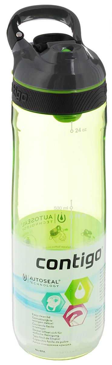 Бутылка для воды Contigo Cortland, цвет: зеленый, серый, черный, 720 млCONTIGO0461Бутылка для воды Contigo Cortland изготовлена из высококачественного прозрачного пластика, безопасного для здоровья. Закручивающаяся крышка с герметичным клапаном для питья обеспечивает защиту от проливания. Оптимальный объем бутылки позволяет взять небольшую порцию напитка. Она легко помещается в сумке или рюкзаке и всегда будет под рукой. Изделие имеет мерную шкалу, которая позволит контролировать количество жидкости. Такая идеальная бутылка небольшого размера, но отличной вместимости наполняет оптимизмом, даря заряд позитива и хорошего настроения. Бутылка для воды Contigo Cortland - отличное решение для прогулки, пикника, автомобильной поездки, занятий спортом и фитнесом. Высота бутылки (с учетом крышки): 25,5 см. Диаметр дна: 6 см.
