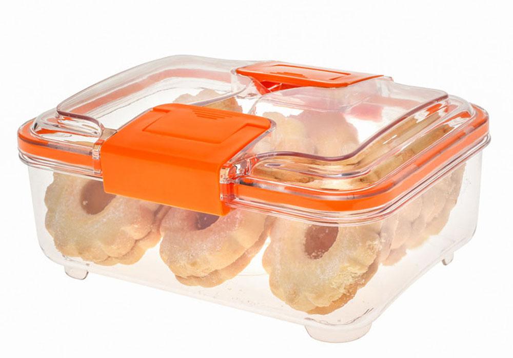 Контейнер Status RC10, цвет: прозрачный, оранжевый, 1 лRC10 OrangeВакуумный контейнер Status RC10 изготовлен из прочного хрустально-прозрачного тритана, рекомендован для хранения следующих продуктов: фрукты, овощи, хлеб, колбасы, сыры, сладости, соусы, супы. Благодаря использованию вакуумных контейнеров, продукты не подвергаются внешнему воздействию и срок хранения значительно увеличивается. Продукты сохраняют свои вкусовые качества и аромат, а запахи в холодильнике не перемешиваются. Допускается замораживание (до -21 °C), мойка контейнера в посудомоечной машине, разогрев в СВЧ (без крышки). Объем контейнера: 1 л. Размер: 18,5 х 15 х 8 см.