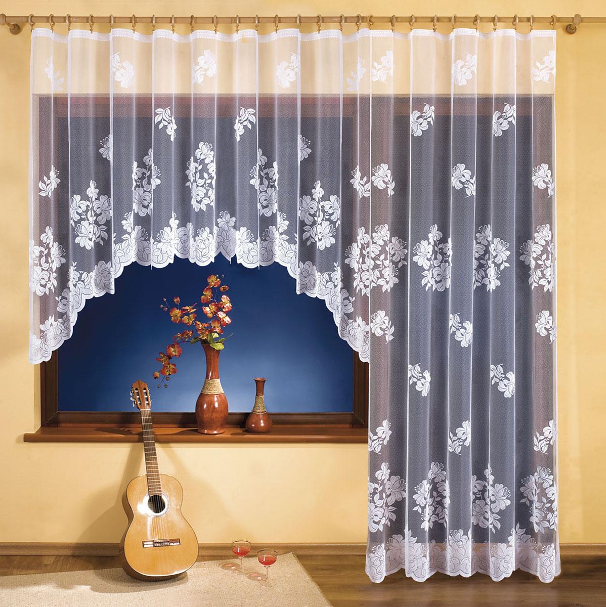 Комплект штор Wisan, цвет: белый, высота 250 см3254Комплект гардин для окна с балконной дверью, крепление зажимы для штор. Размеры: 300*150+250*150