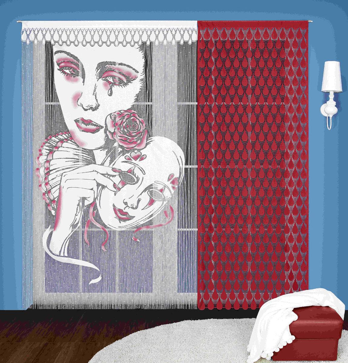 Гардина-лапша Wisan, цвет: бордовый, высота 240 см3348Гардинное полотно Пьеро, состоящее из двух отдельных частей . Крепится на кулиску. Размеры: ширина 150* высота 240, ширина 90* высота 240