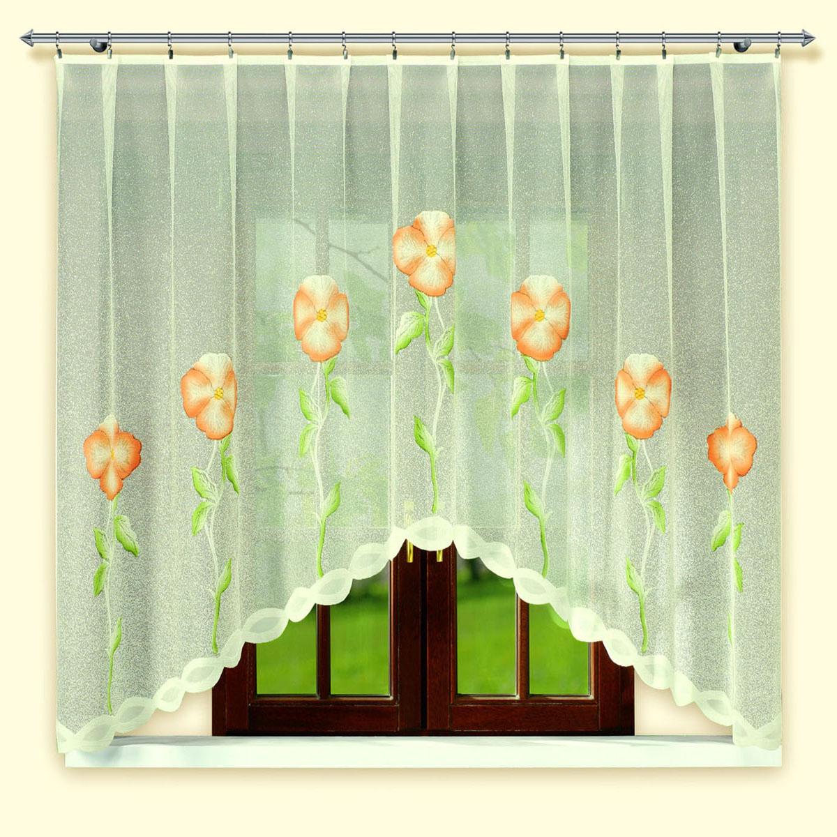 Гардина Haft, цвет: белый, ширина 300 см, высота 160 см. 46010/16046010/160Жаккардовая гардина-арка кремового цвета с цветным рисунком. Высота 160 см Размеры: высота 160см*ширина 300см