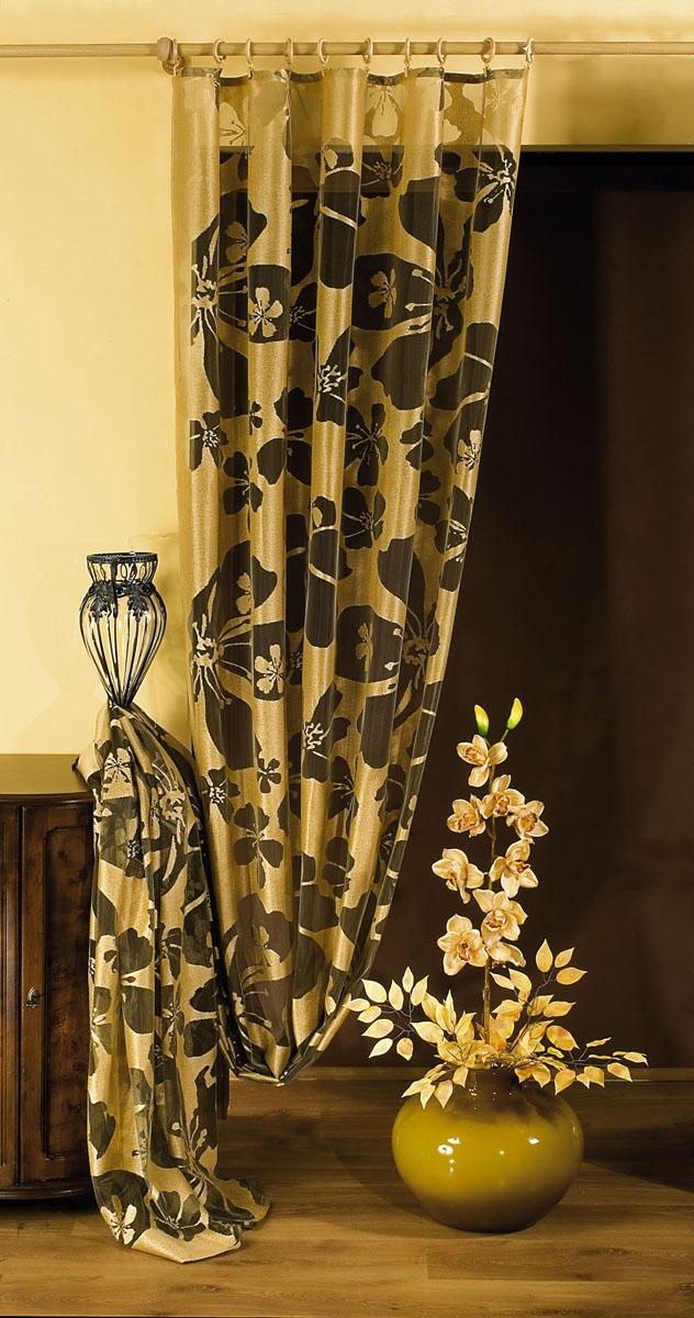 Штора Wisan, на ленте, цвет: коричневый, золотистый, высота 250 см. 592510503Штора Wisan, выполненная из легкого полиэстера, станет великолепным украшением окна в спальне или гостиной. Изделие дополнено красивым цветочным рисунком по всей поверхности полотна. Качественный материал, изысканная цветовая гамма и оригинальный дизайн привлекут к себе внимание и позволят шторе органично вписаться в интерьер помещения. Штора оснащена шторной лентой под зажимы для крепления на карниз.