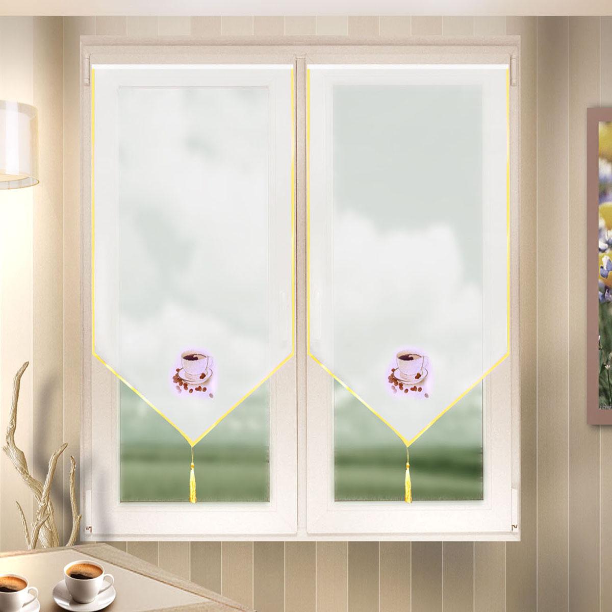 Гардина Zlata Korunka, цвет: белый, ширина 60 см, высота 140 см. 666023666023Лучшая альтернатива рулонным шторам на кухне – шторы на липкой ленте. Особенность этих штор заключается в том, что они имеют липкую основу в месте крепления . Лента или основа надежно и быстро крепится на раму окна, а на нее фиксируется сама штора. Размеры: ширина 60* высота 140