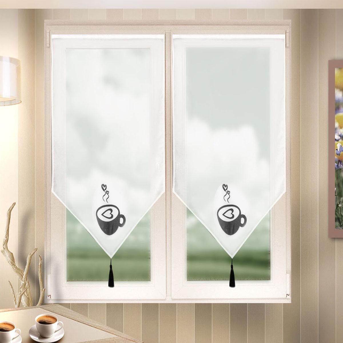 Гардина Zlata Korunka, цвет: белый, ширина 60 см, высота 90 см. 666024/23254115/1W2040Лучшая альтернатива рулонным шторам на кухне – шторы на липкой ленте. Особенность этих штор заключается в том, что они имеют липкую основу в месте крепления . Лента или основа надежно и быстро крепится на раму окна, а на нее фиксируется сама штора.Размеры: ширина 60* высота 90
