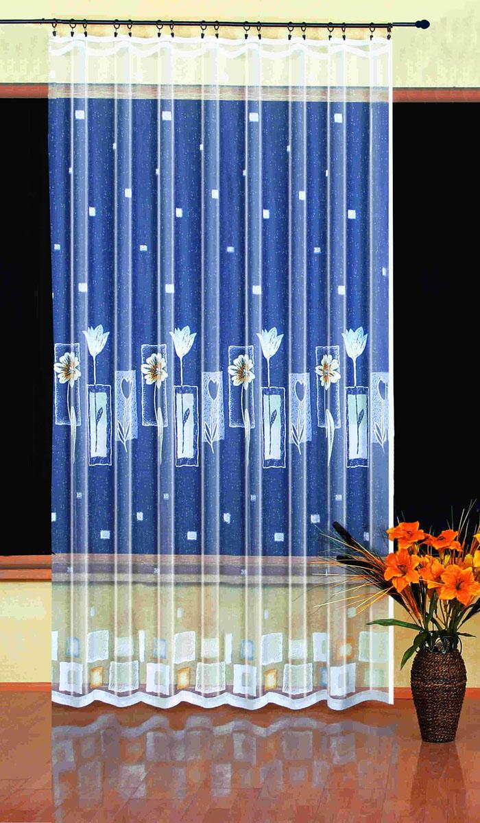 Гардина Wisan, цвет: белый, ширина 200 см, высота 250 см. 93909390вид крепления - под зажимы для штор Размеры: 200*250