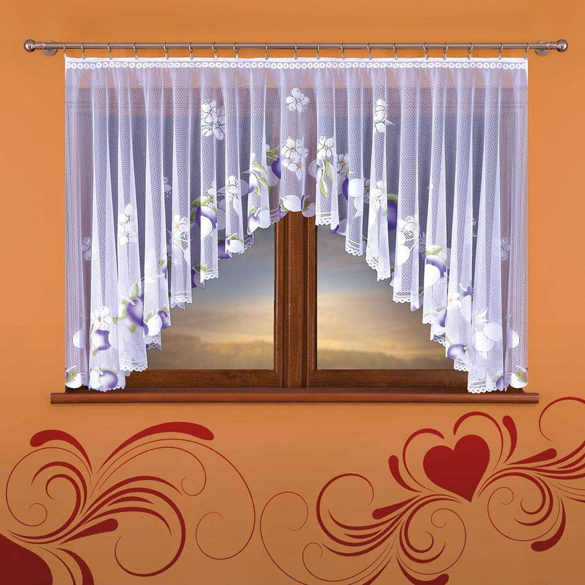 Гардина Wisan, цвет: белый, ширина 160 см, высота 130 см364Евид крепления - под зажимы для штор Размеры: 160*130