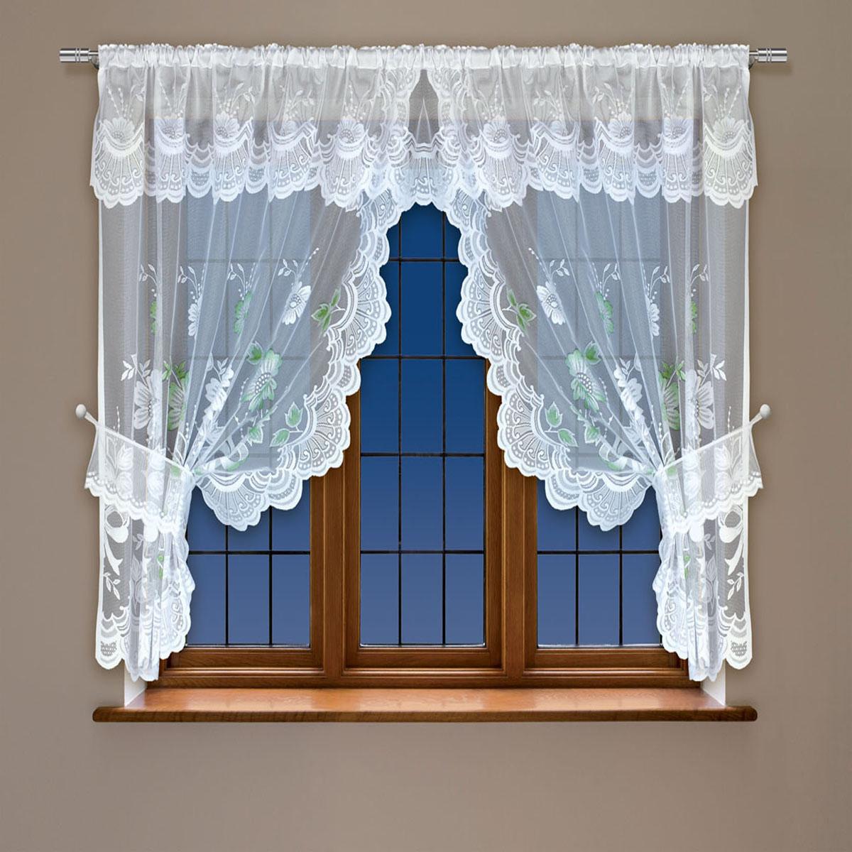 Гардина Haft, на кулиске, цвет: белый, высота 91 см. 20256110503Воздушная гардина Haft, выполненная из полиэстера, великолепно украсит любое окно.Изделие имеет оригинальный дизайн и органично впишется в интерьер помещения.Гардина крепится на карниз при помощи кулиски.