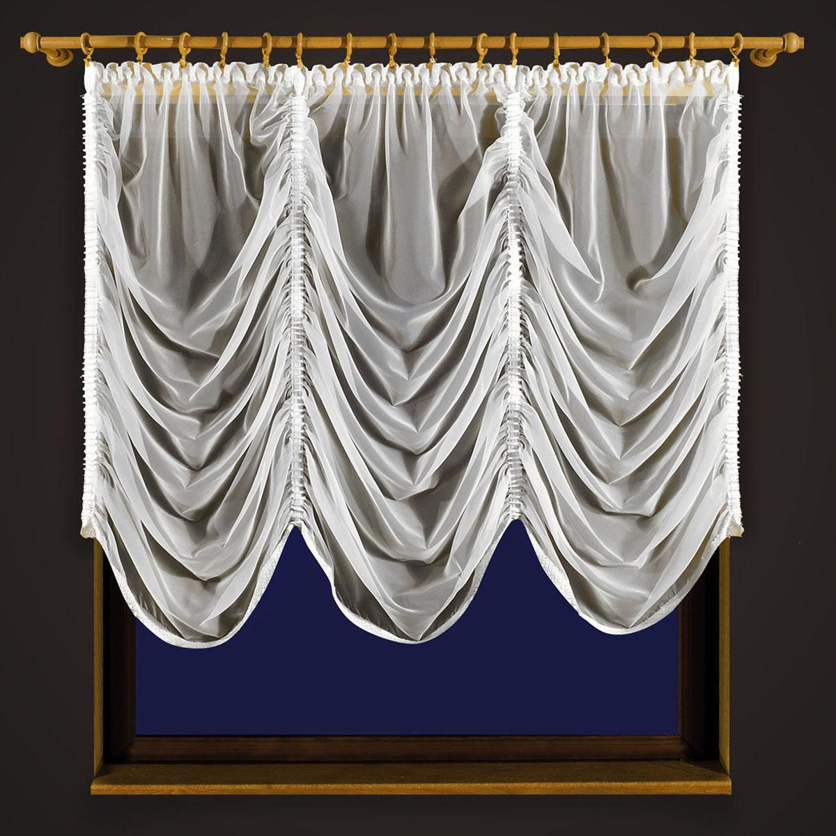 Гардина Zlata Korunka, цвет: белый, высота 250 см. 5560855608 белыйГардина Zlata Korunka, изготовленная из высококачественного полиэстера, станет великолепным украшением любого окна. Изделие из вуали выполнено по типу французской шторы. Вдоль полотна прошиты четыре туннеля, по которым гардина собирается гардина до нужных размеров. Оригинальная гардина внесет разнообразие и подарит заряд положительного настроения. Размер несобранного полотна: 250 х 250 см.